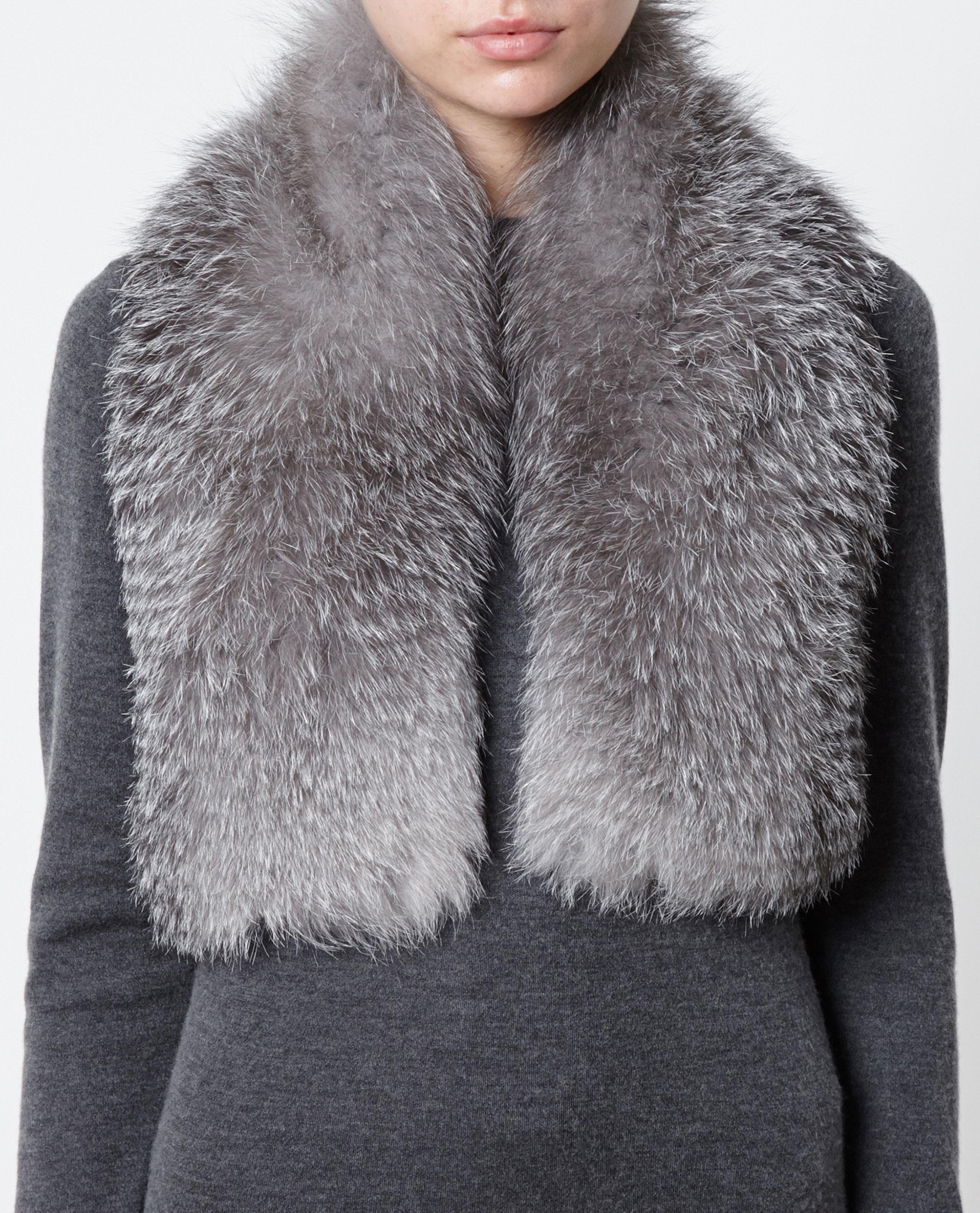 knitted fox fur scarf inverni iuIY25YEf