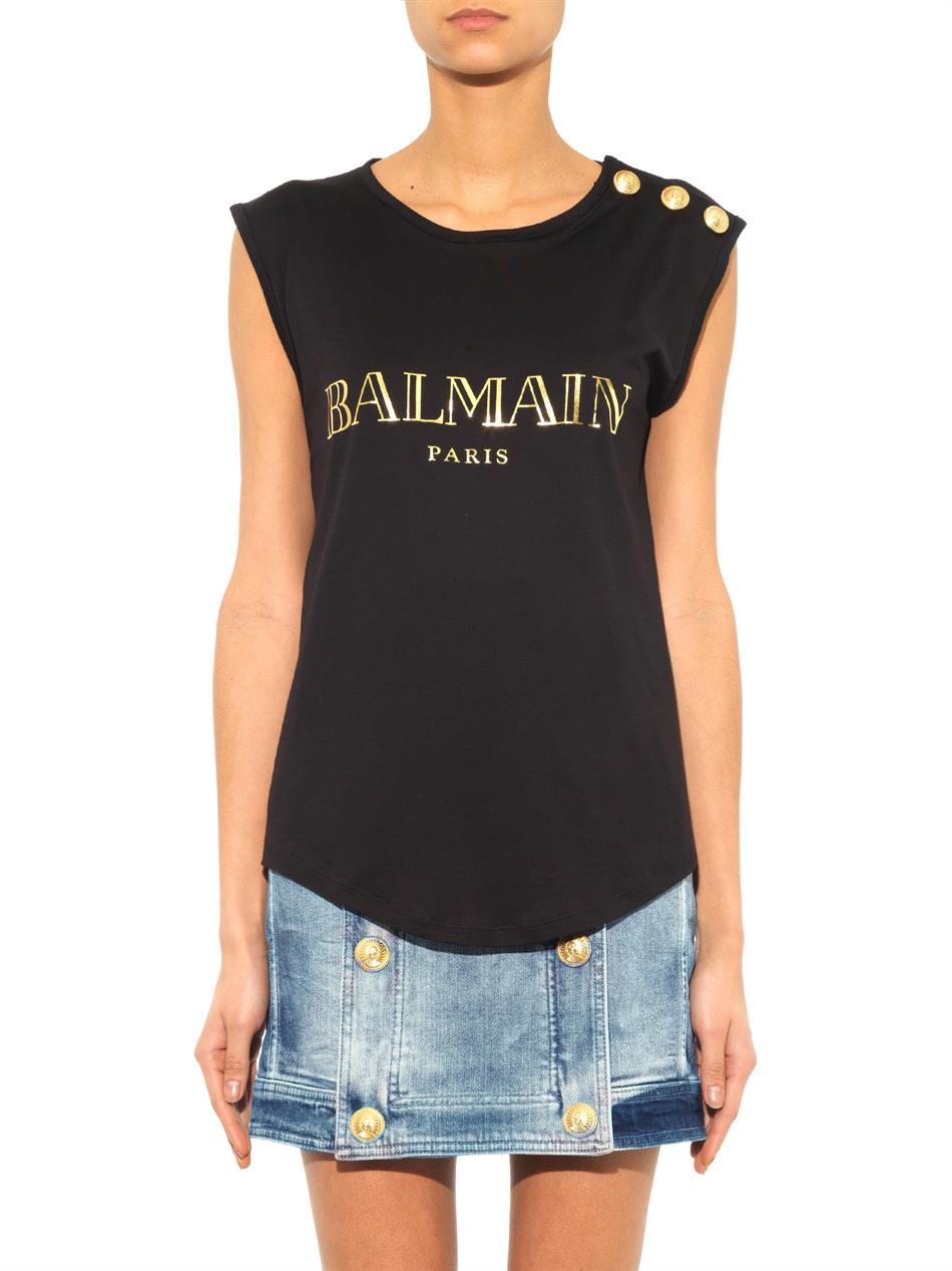 Lyst Balmain Logo Print Tank Top In Black