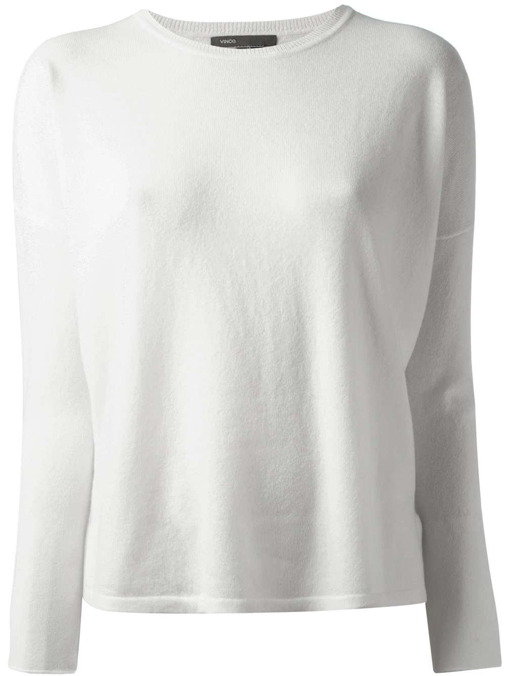 Vince Crew Neck Sweater in White | Lyst
