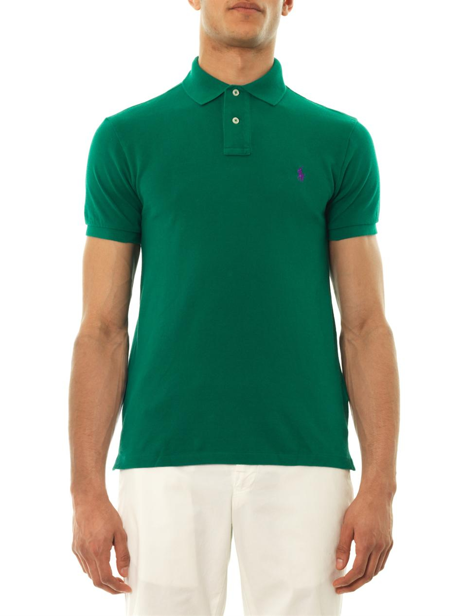 d0ce6df2a ... italy lyst polo ralph lauren slimfit cottonpiqué polo shirt in green  for men 924c1 89be5