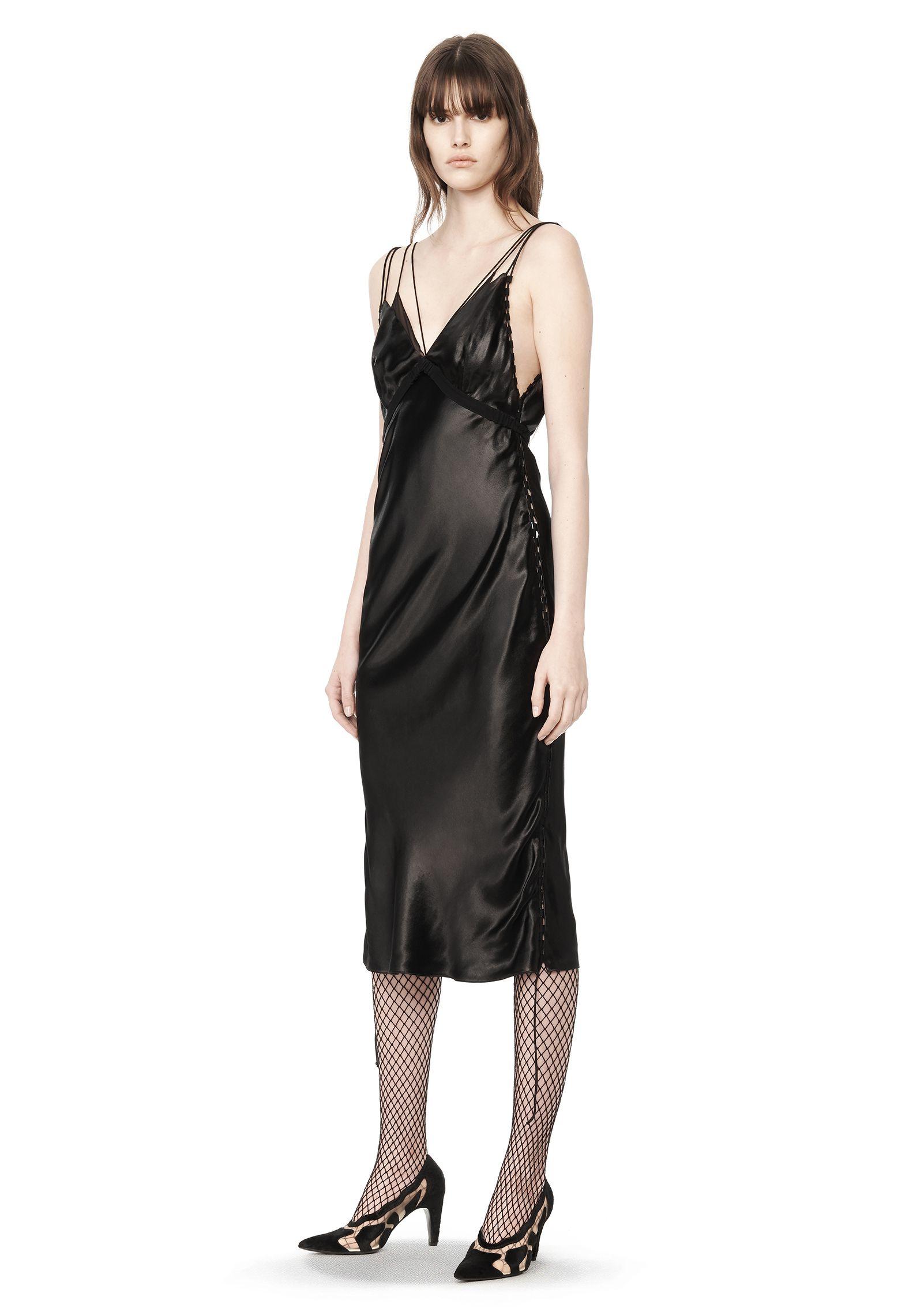 0ab867f47d8f2 Alexander Wang Satin Slip Dress in Black - Lyst