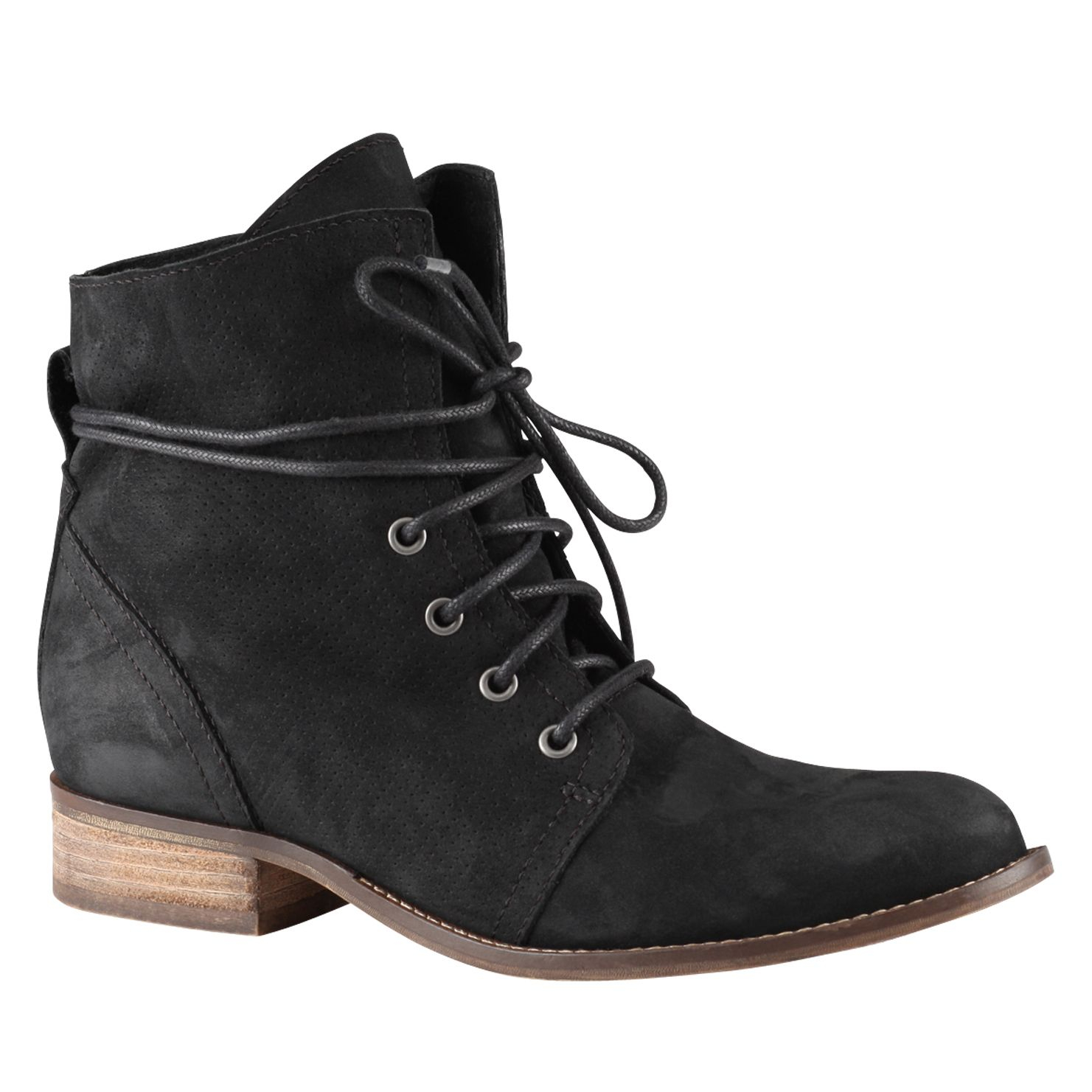 aldo prelidda almond toe lace up boots in black lyst