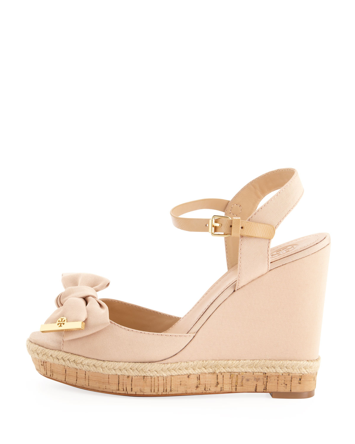 f56c0e2ff57 Lyst - Tory Burch Penny Faille Bow Wedge in Pink