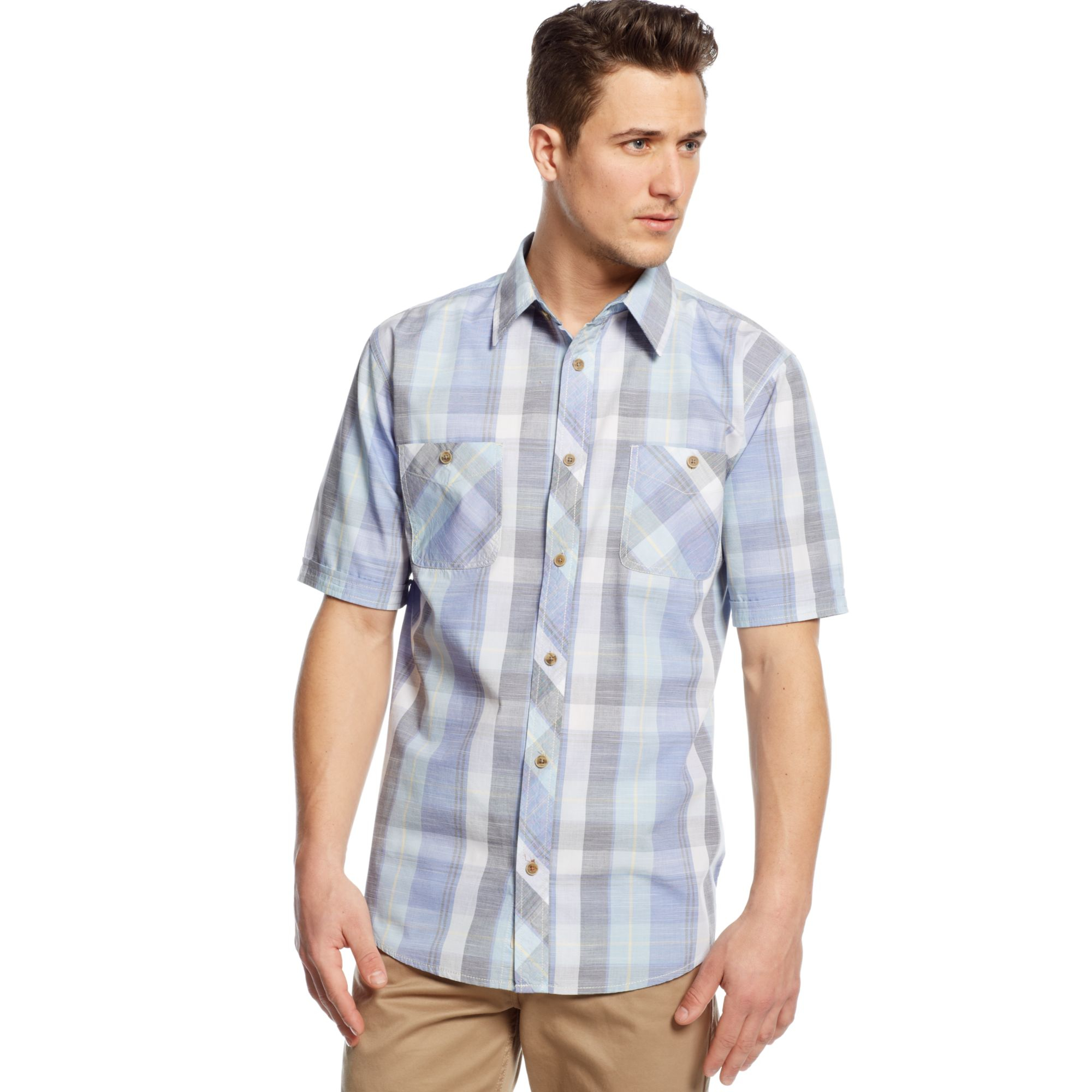 Weatherproof vintage plaid shirt in blue for men royal for Royal blue plaid shirt mens