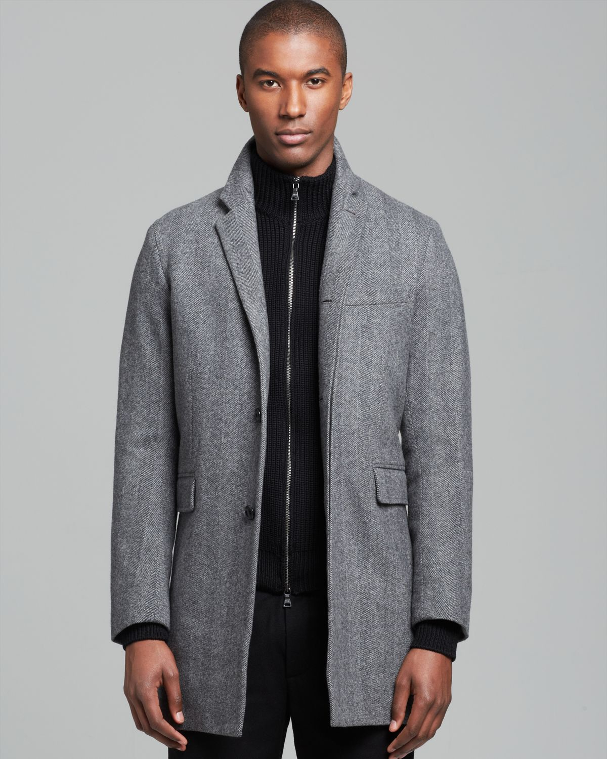 Vince Herringbone Top Coat in Gray for Men | Lyst