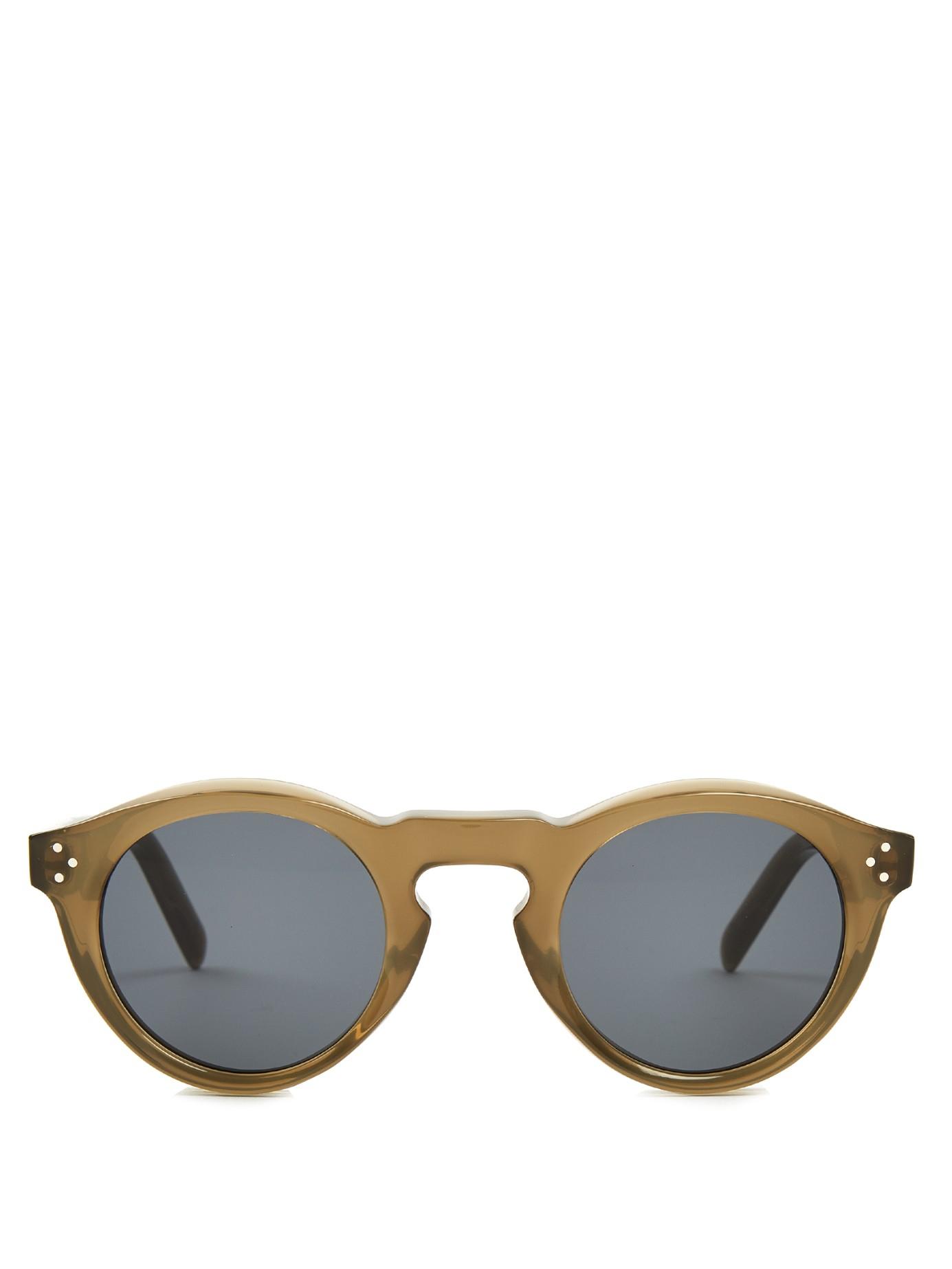 683d8736a484 Lyst - Céline Round-frame Acetate Sunglasses in Green