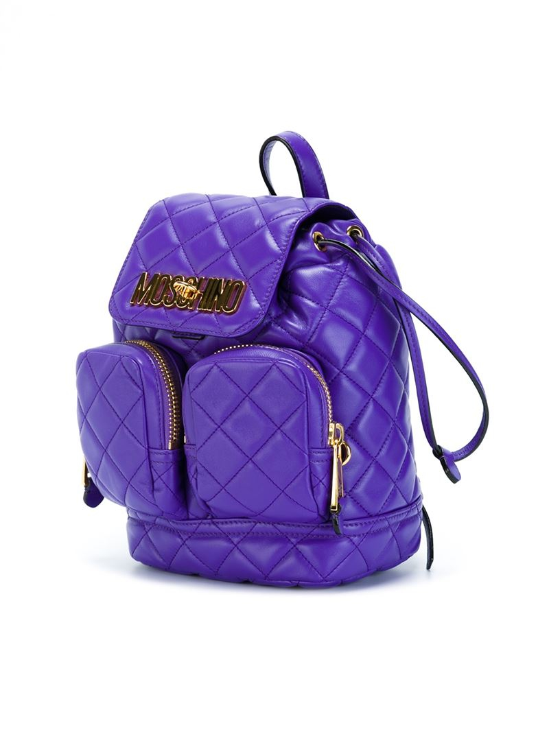 Moschino Quilted Backpack In Pink Lyst