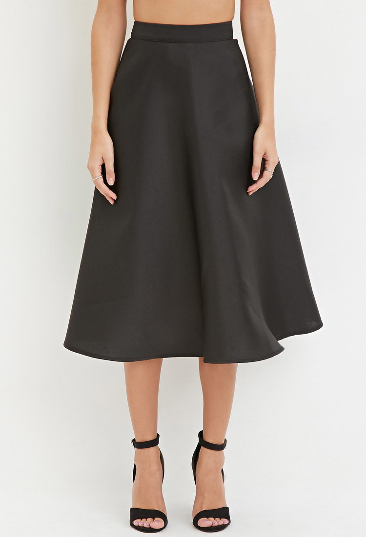 Forever 21 Contemporary A Line Midi Skirt In Black Lyst