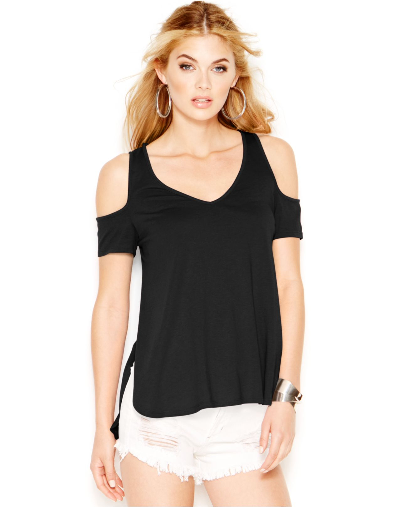 0034569f6a78b Lyst - Guess Cold-Shoulder Short-Sleeve Top in Black