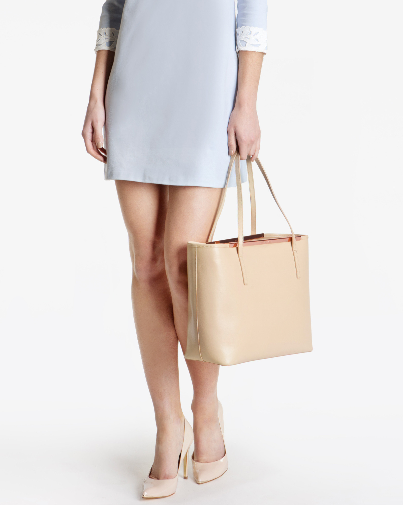 640e024cd2 Ted Baker Crosshatch Leather Shopper Bag in Natural - Lyst