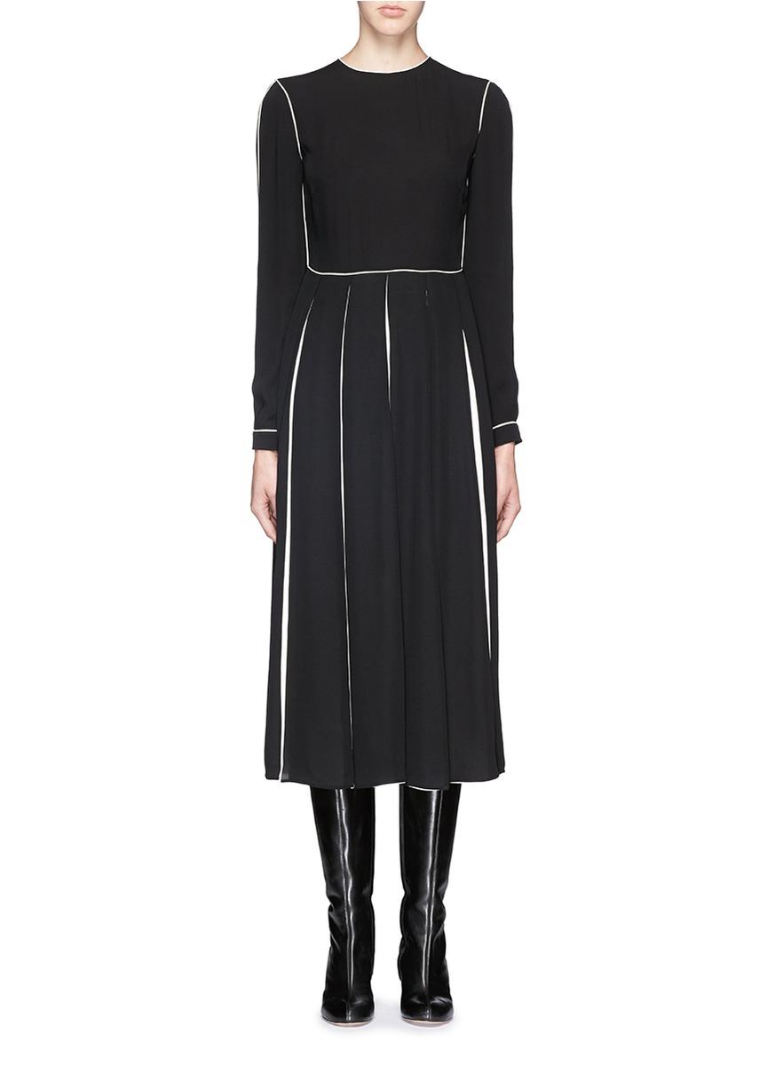 Lyst Valentino Contrast Piping Silk Pleat Midi Dress In