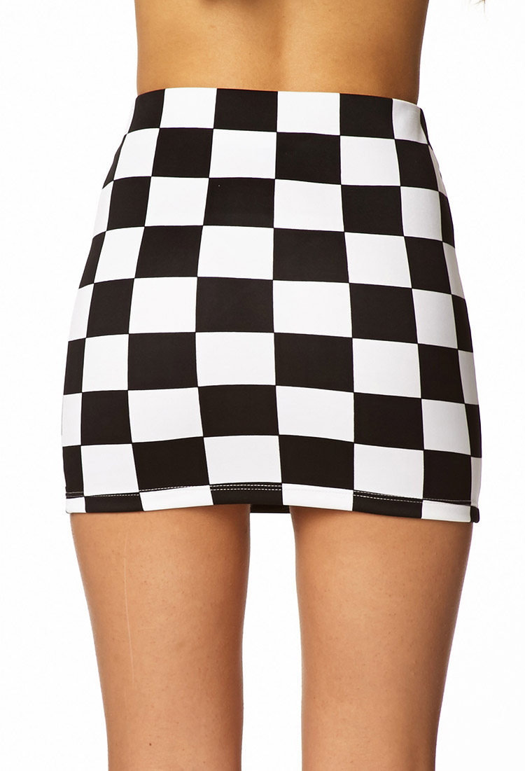 Forever 21 Checkered Mini Skirt in White | Lyst