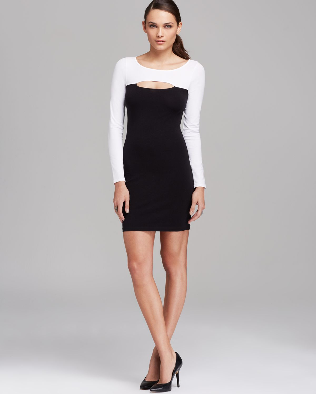 Lyst Guess Dress Color Block Cutout In Black