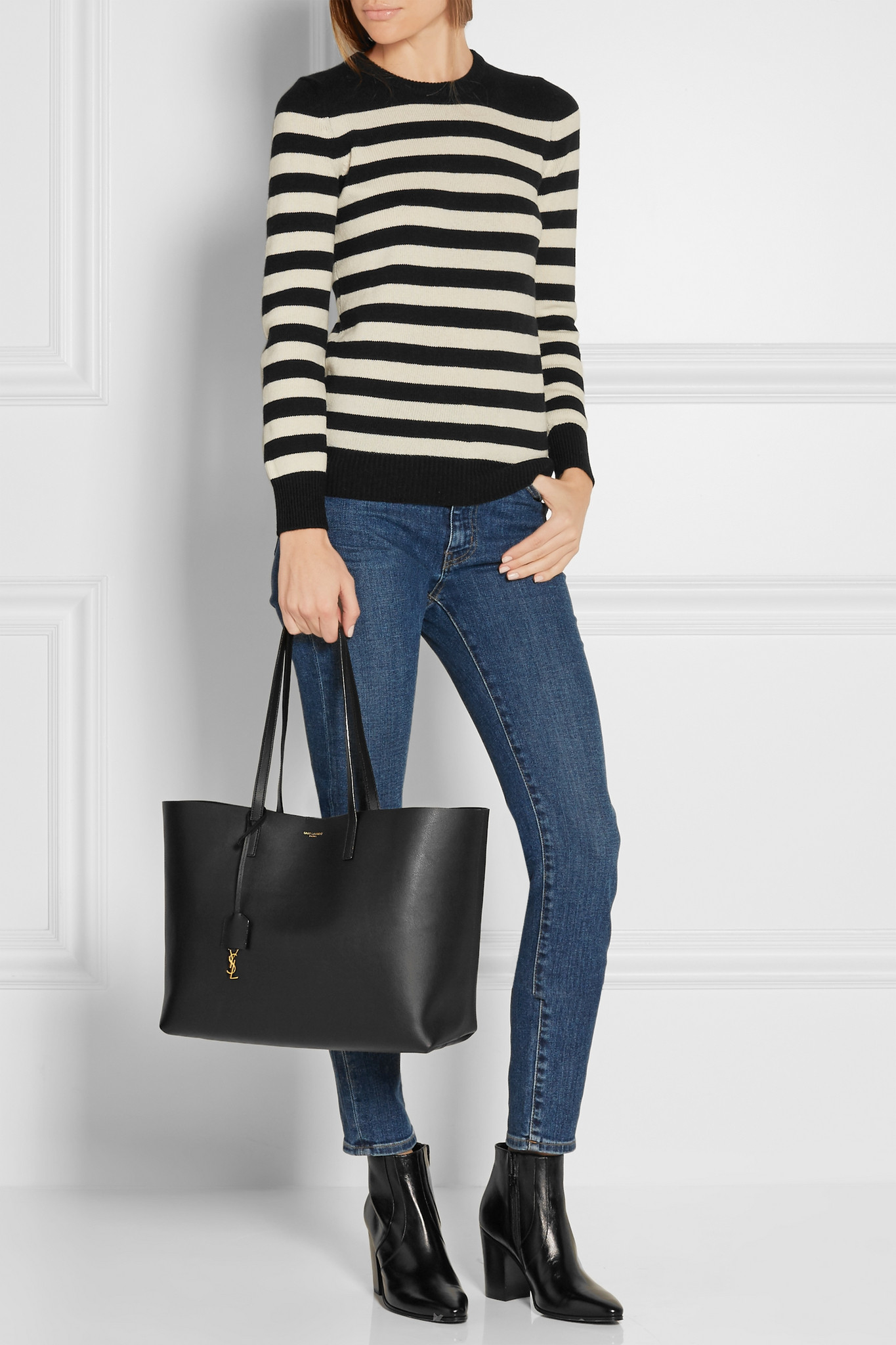 e98cb8f018f Saint Laurent Shopping Large Textured-leather Tote in Black - Lyst