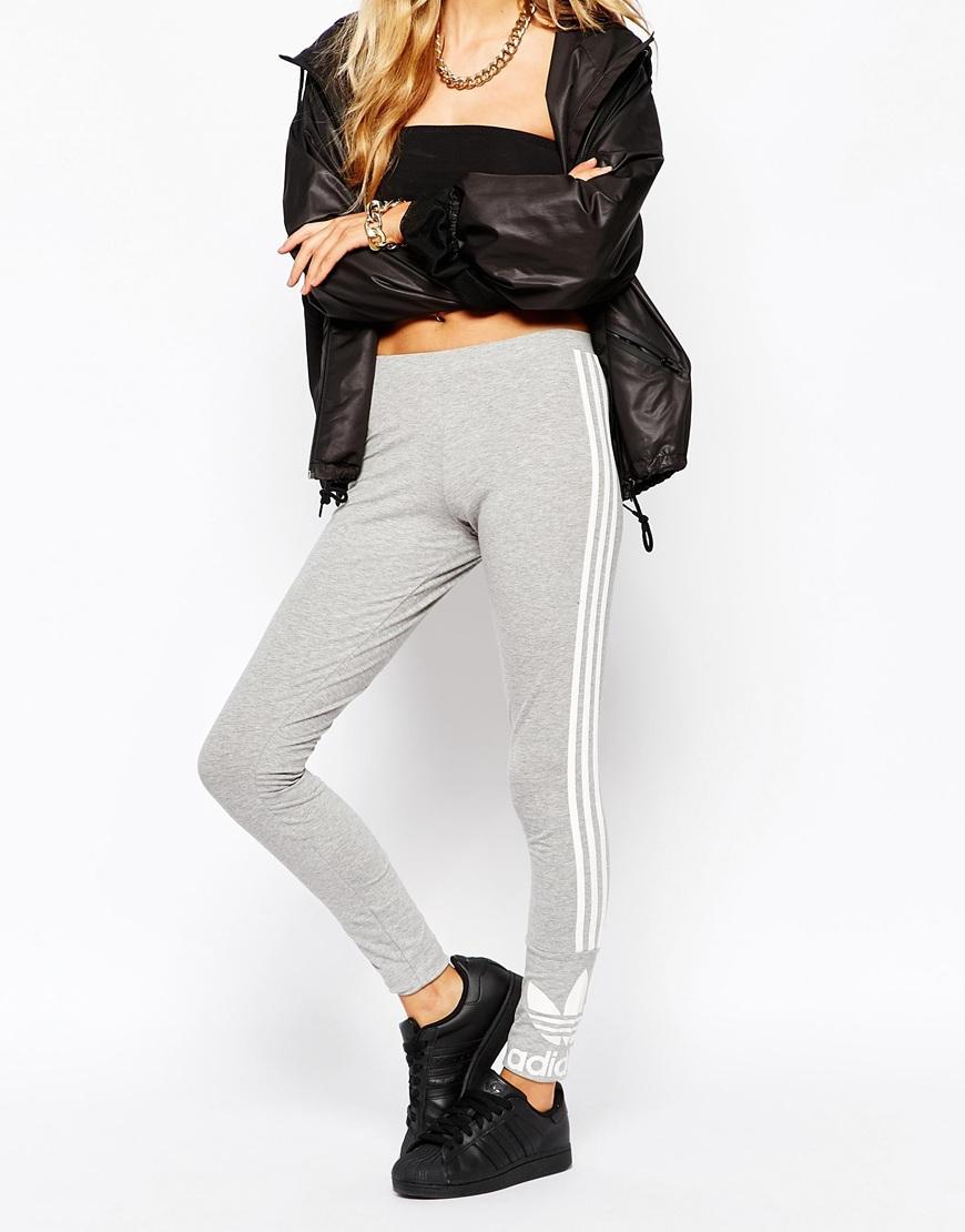 hot sale online e3c4c 9833b adidas Originals 3 Stripe Leggings in Gray - Lyst