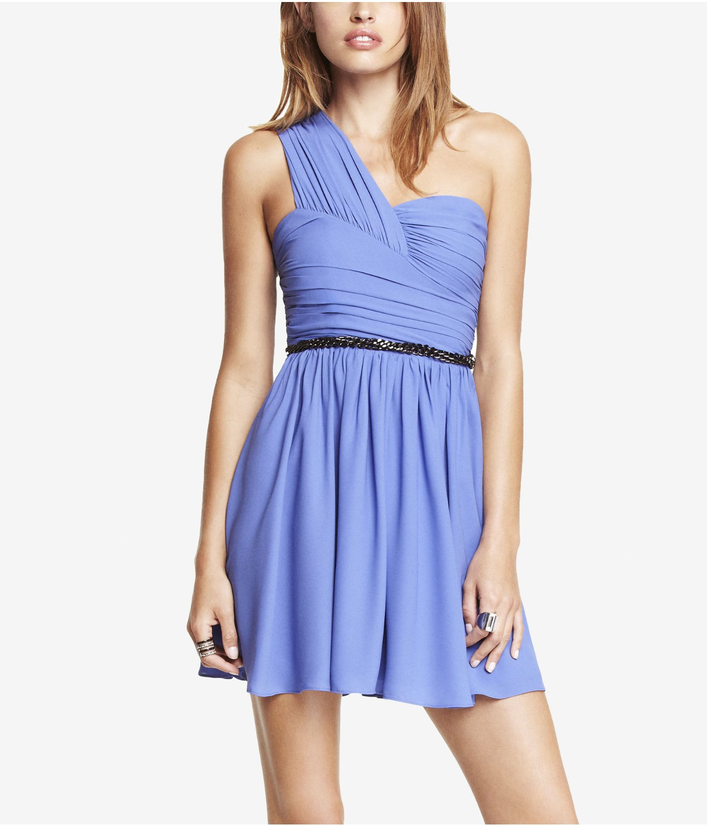 Lyst - Express One Shoulder Ruched Dress in Blue