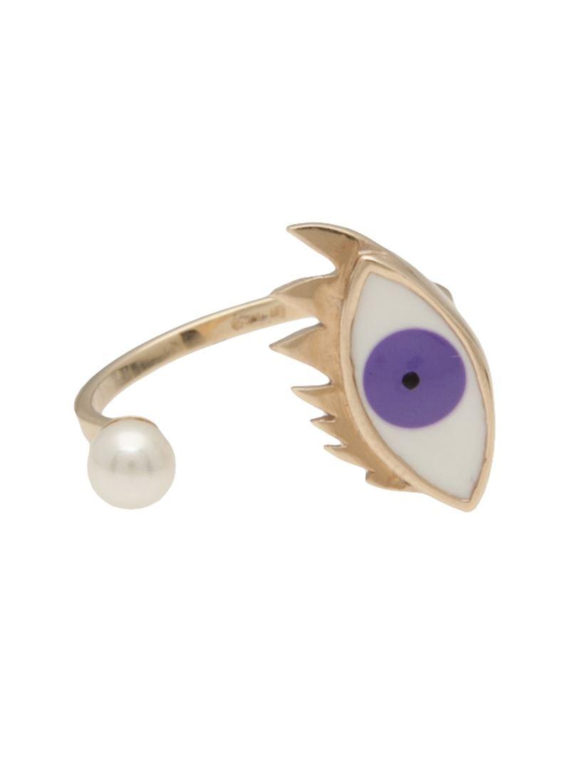 Delfina Delettrez Eye piercing ring - Pink & Purple AzeJLA