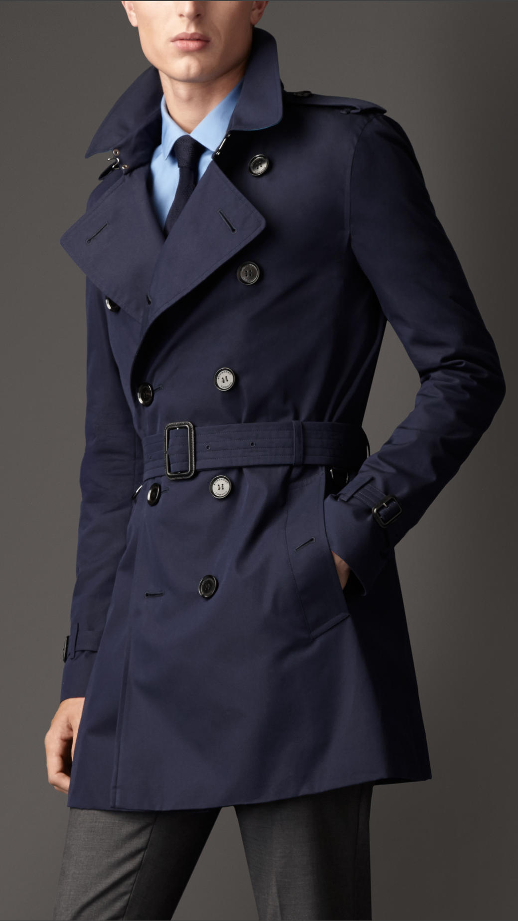 Burberry Midlength Contrast Undercollar Gabardine Trench Coat in ...