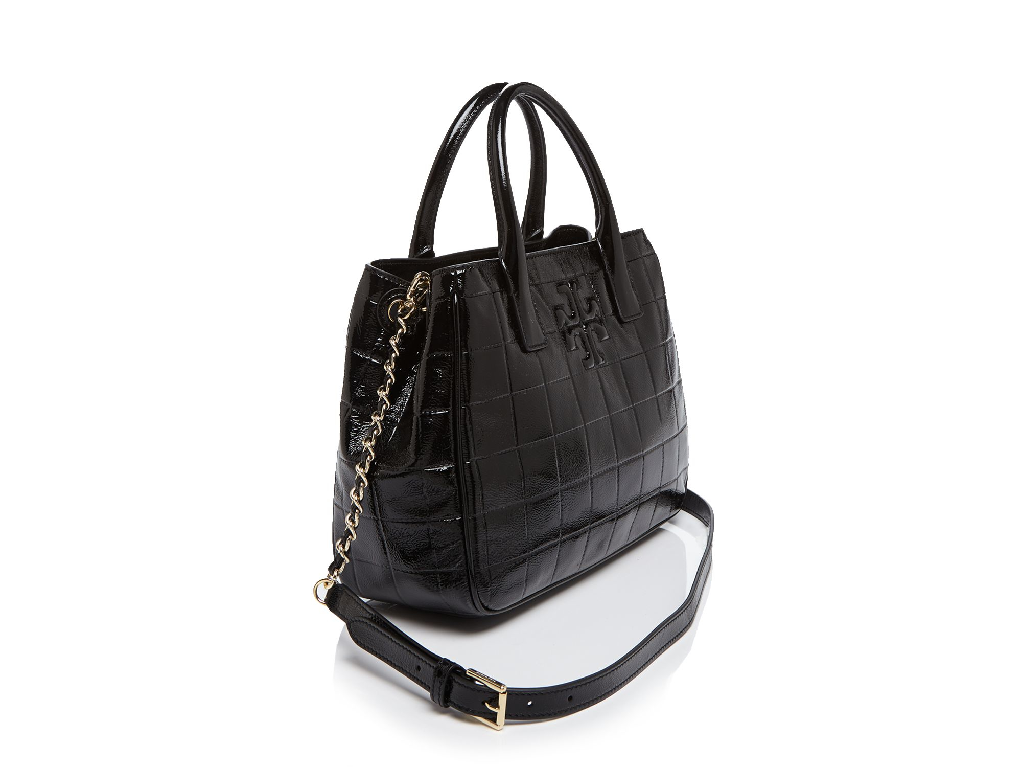 fa3bcd19d89 Lyst - Tory Burch Marion Quilted Patent Tote in Black