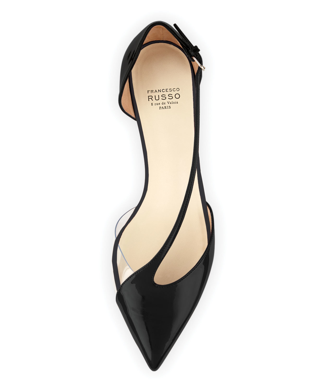 943bc2dd99 Francesco Russo Diagonal-strap Kitten-heel Pump in Black - Lyst
