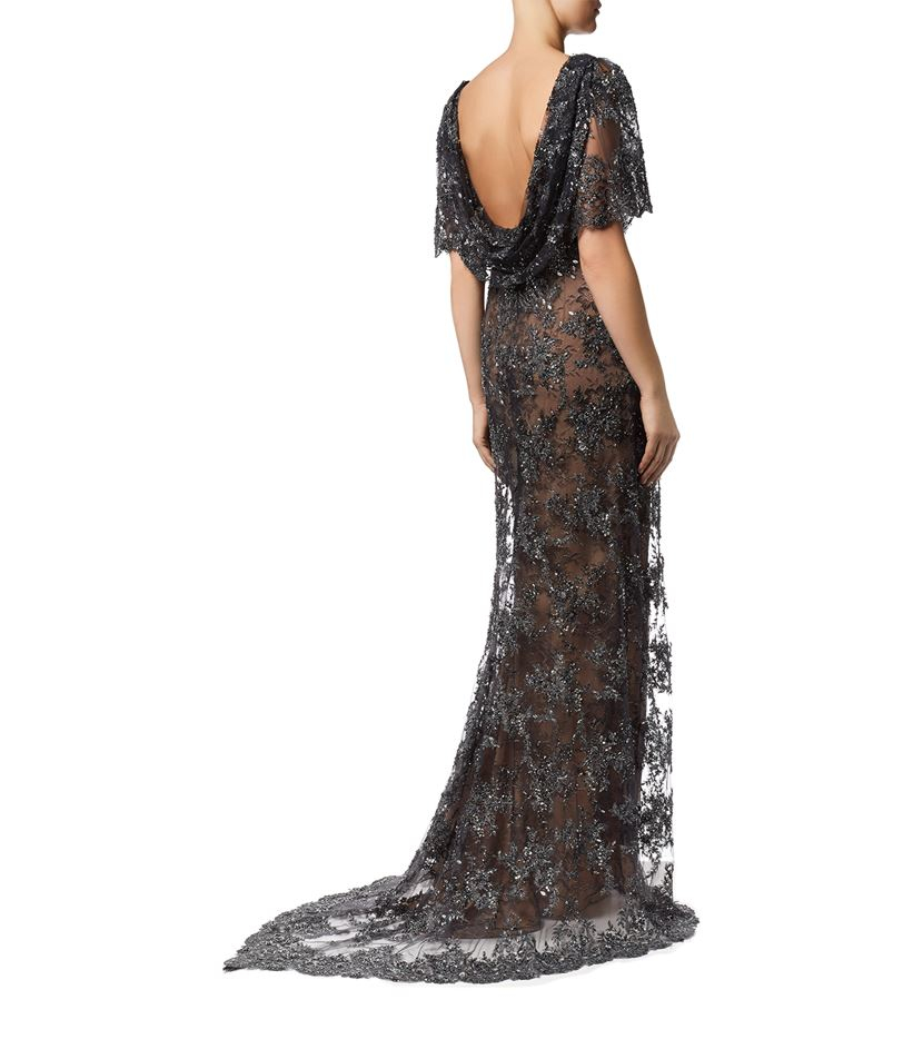 marchesa beaded evening gown in black lyst