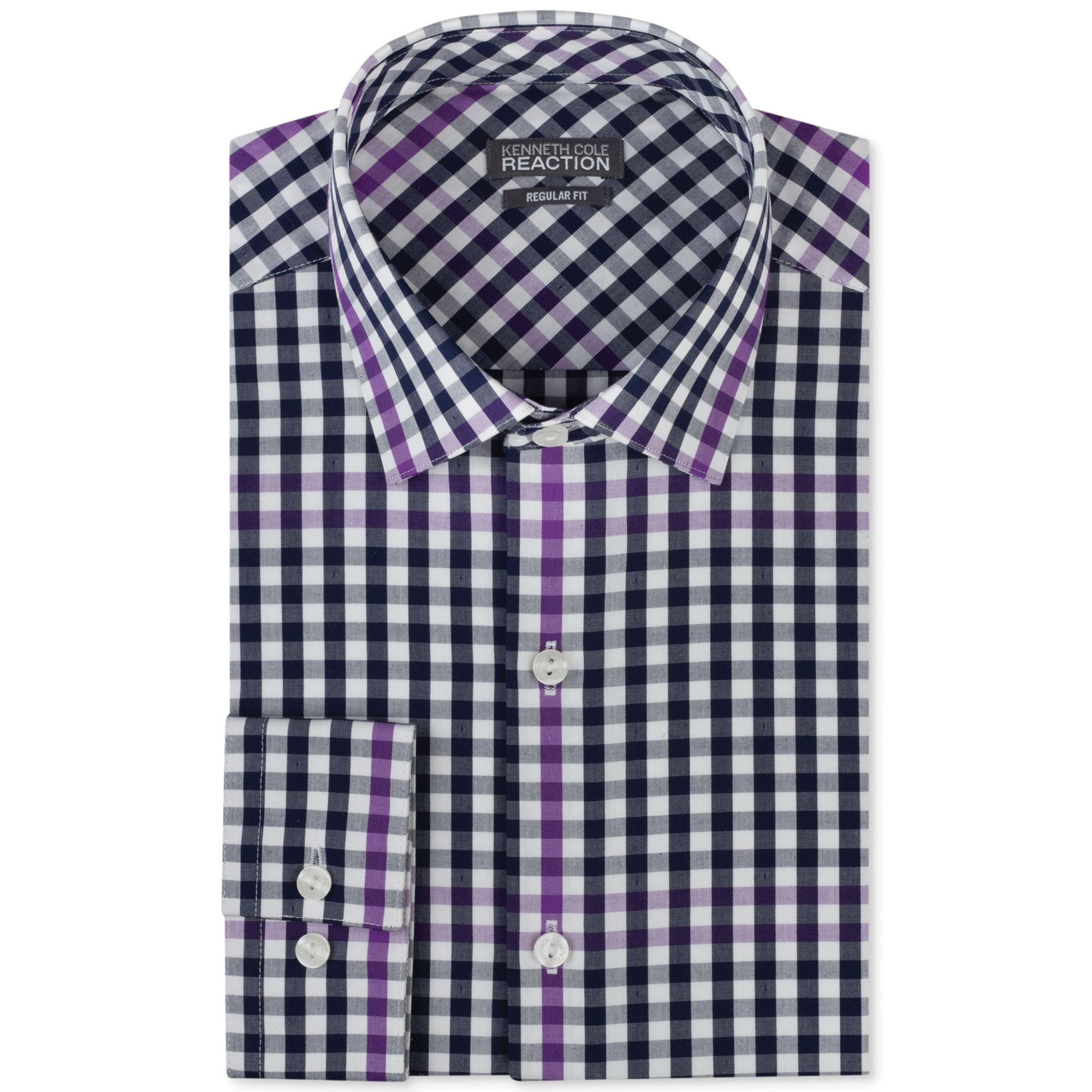 Kenneth Cole Reaction Bold Purple Check Dress Shirt In