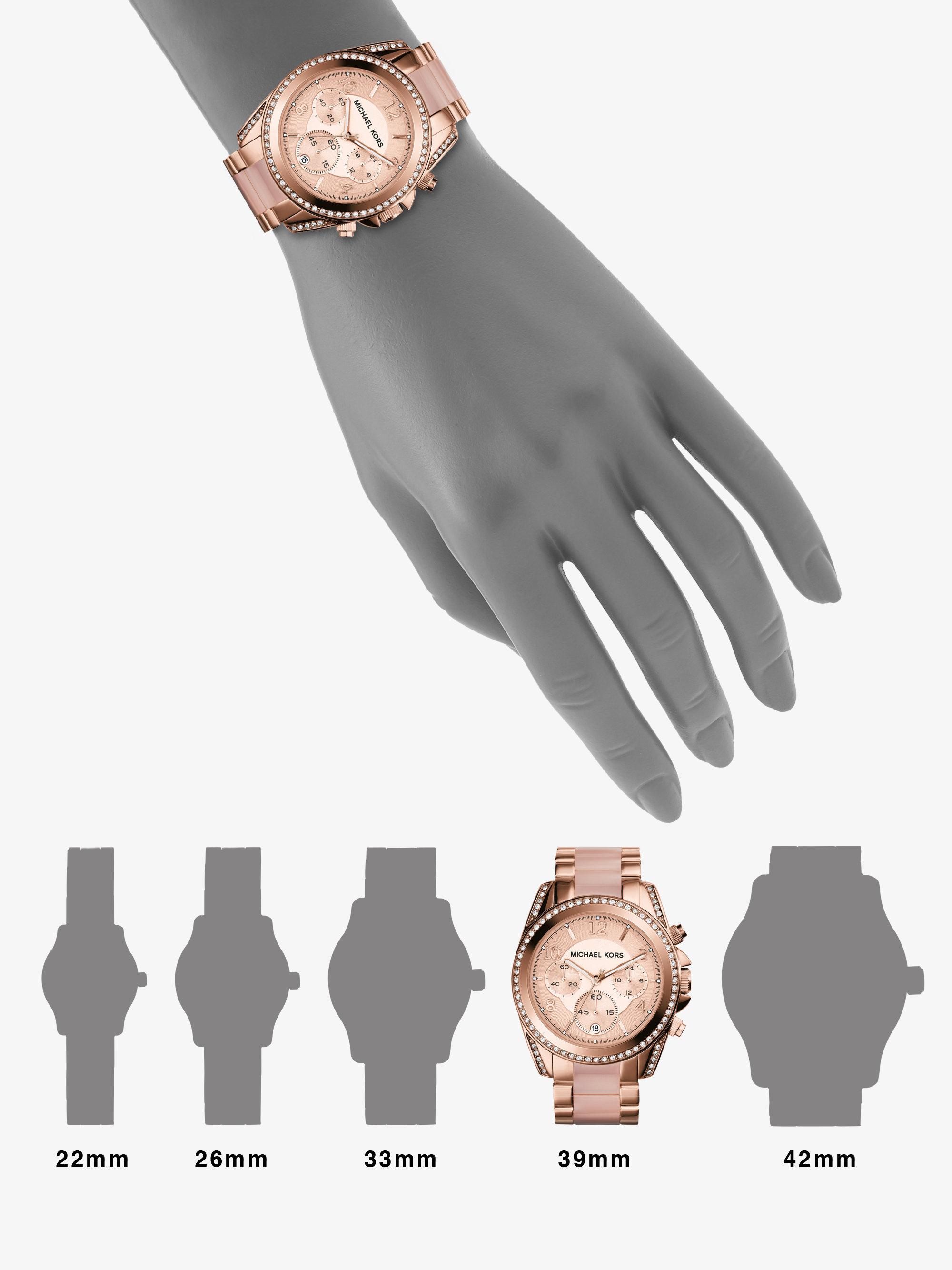 120972a3058b Michael Kors Blair Rose Gold-Tone Chronograph Watch - HD Image ...