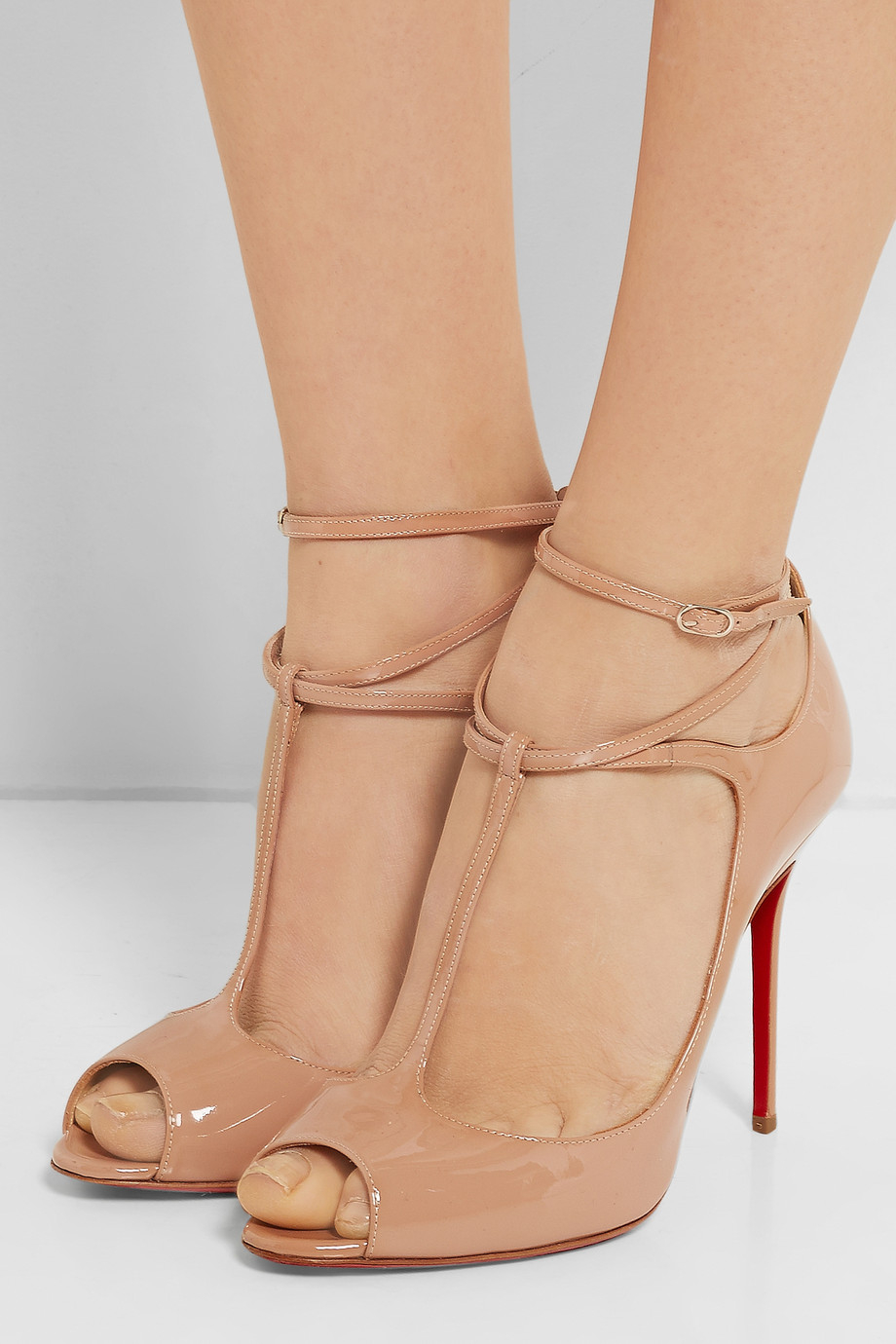 9d3d3fc0fc42 ... 50% off lyst christian louboutin talitha 100 patent leather pumps in  natural 59231 9ecd5