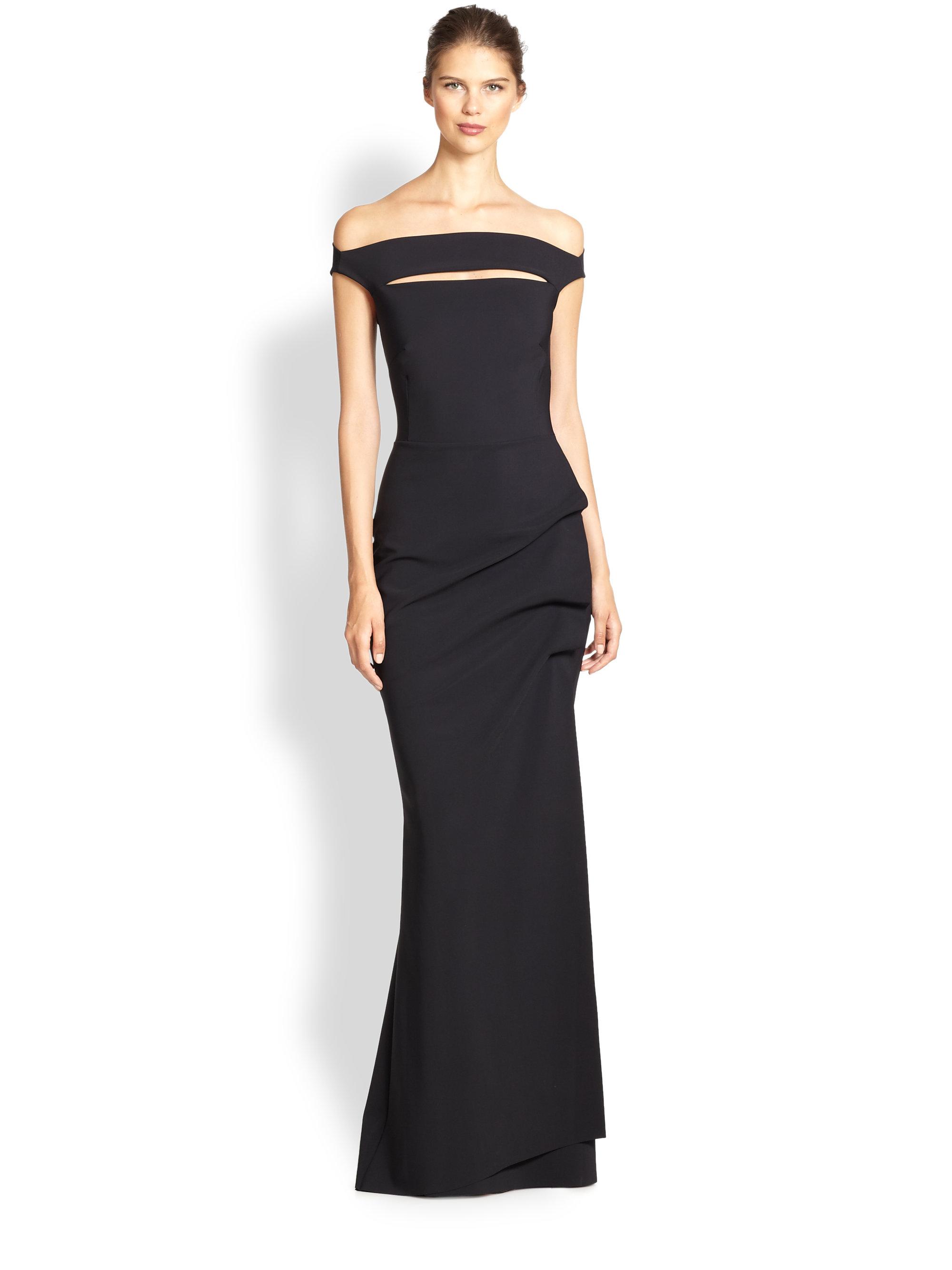 la petite robe di chiara boni melania off the shoulder gown in black lyst. Black Bedroom Furniture Sets. Home Design Ideas