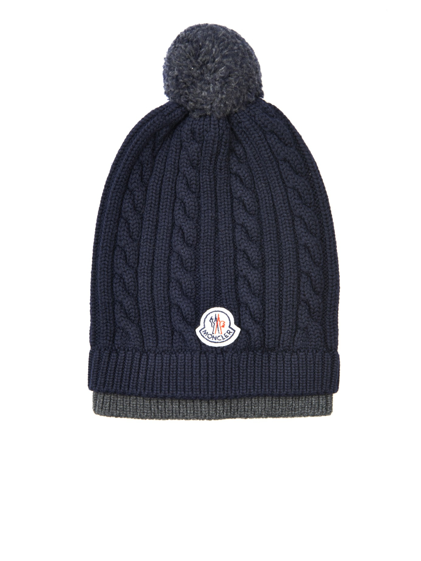 Plush Cable Knit Beanie. Moncler Cable-Knit Wool Beanie Hat in Blue for Men   b6c89e15e2c0