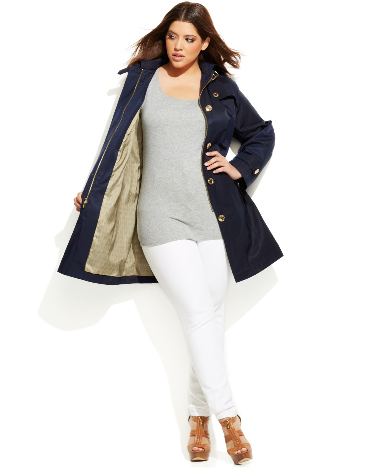 d9696fc2bdc Lyst - Michael Kors Michael Plus Size Hooded Belted Trench Coat in Blue