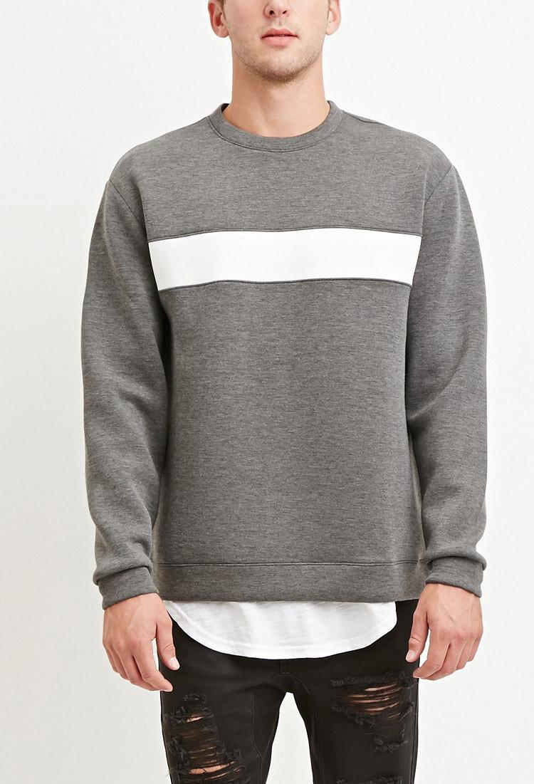 Forever 21 Striped Scuba Knit Sweatshirt in Gray for Men | Lyst