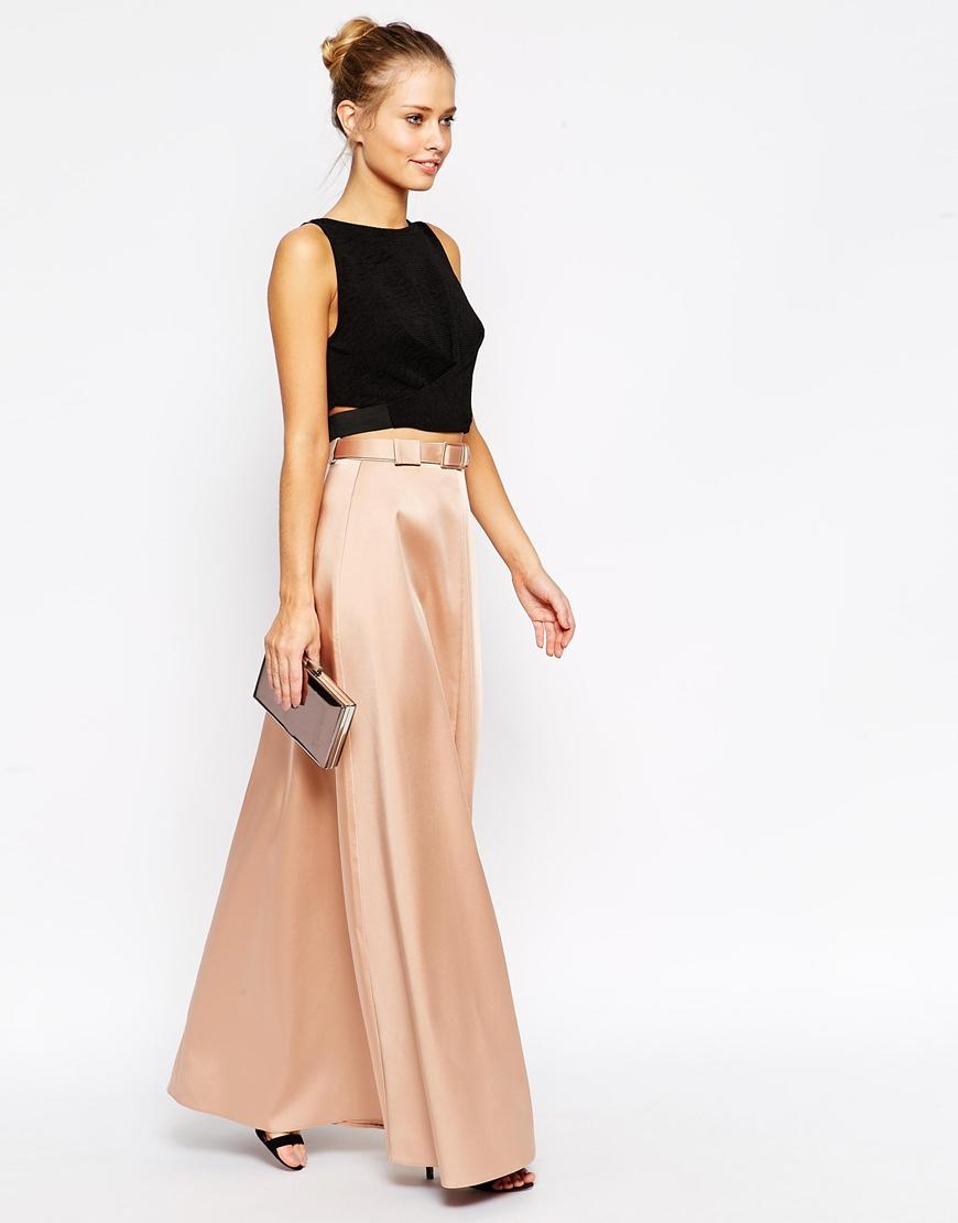 asos premium maxi skirt in bonded satin with belt in