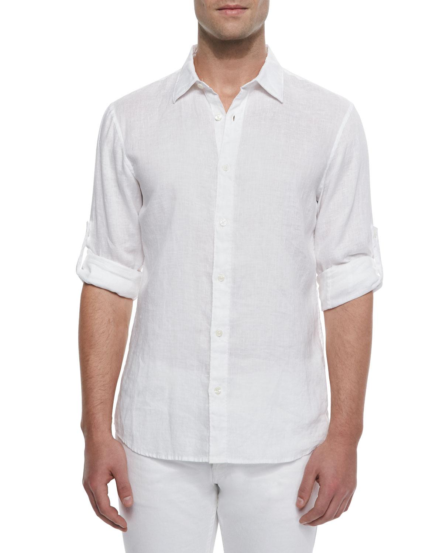 Lyst Michael Kors Linen Roll Tab Shirt In White For Men
