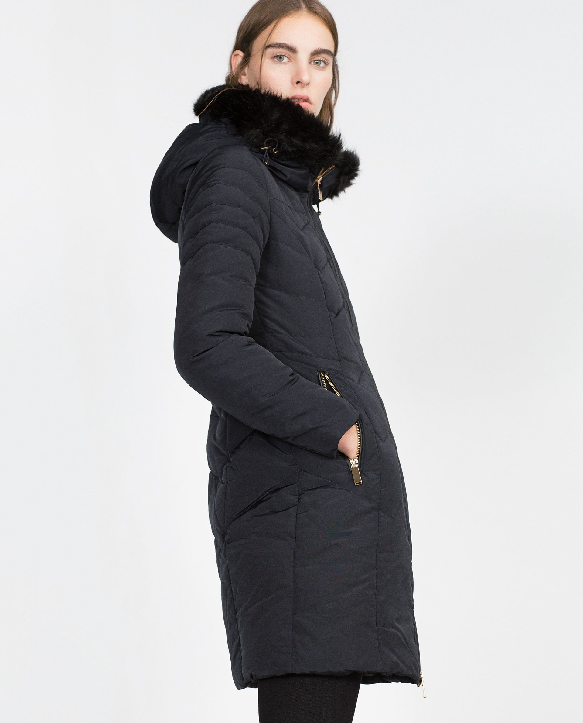 Zara Long Quilted Coat in Blue | Lyst