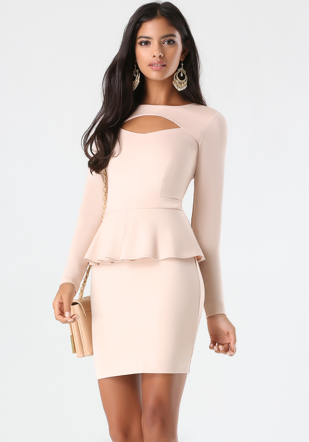 Bebe Peekaboo Ponte Peplum Dress in Pink | Lyst