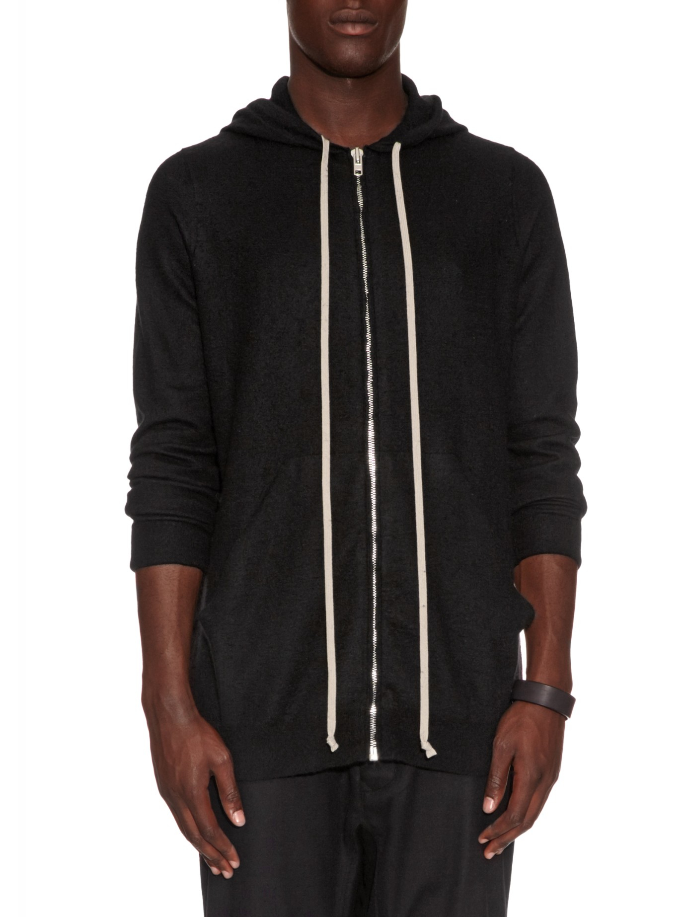 Rick owens Boiled-cashmere Hooded Sweater in Black for Men | Lyst