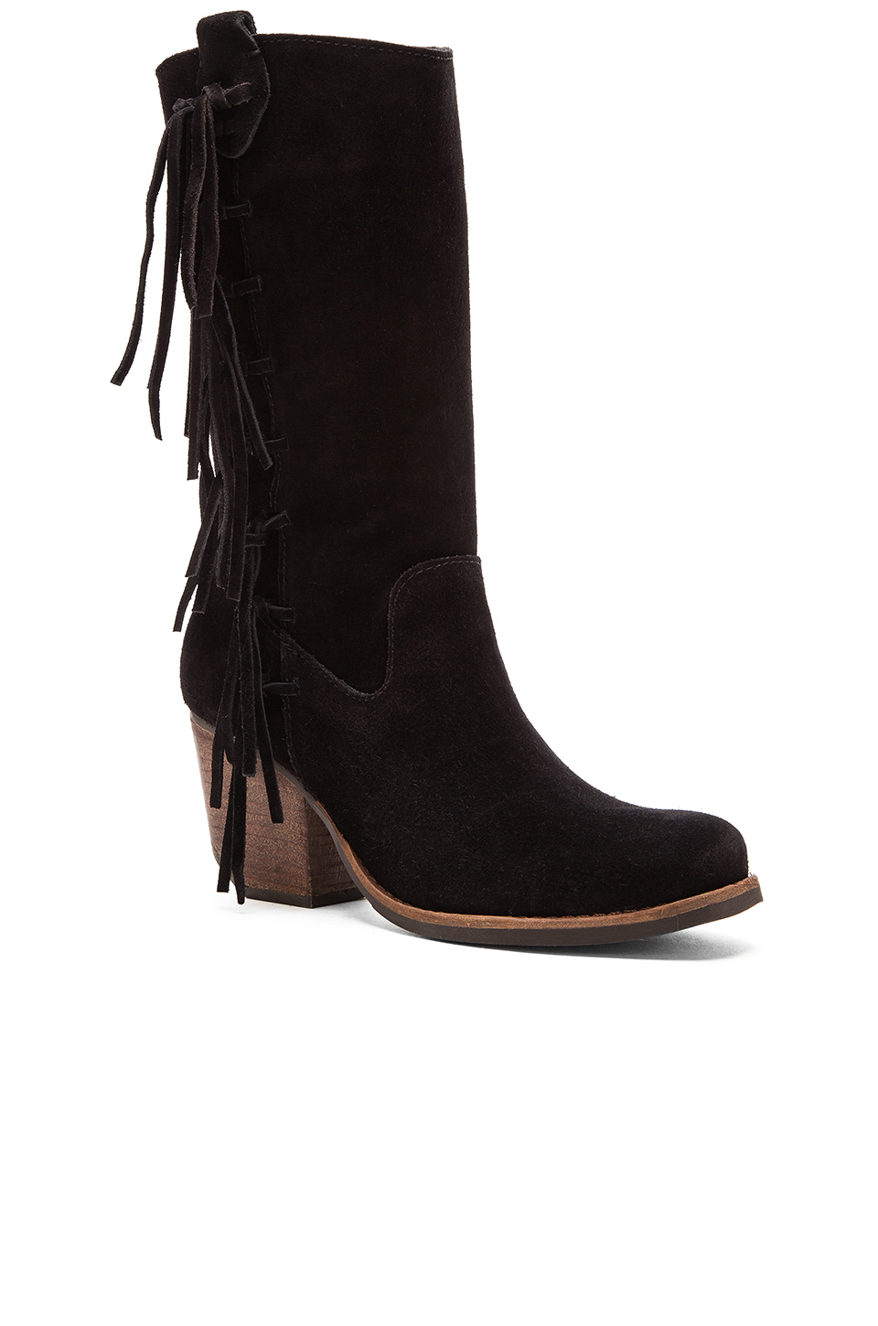 matisse el paso fringed suede boots in black lyst