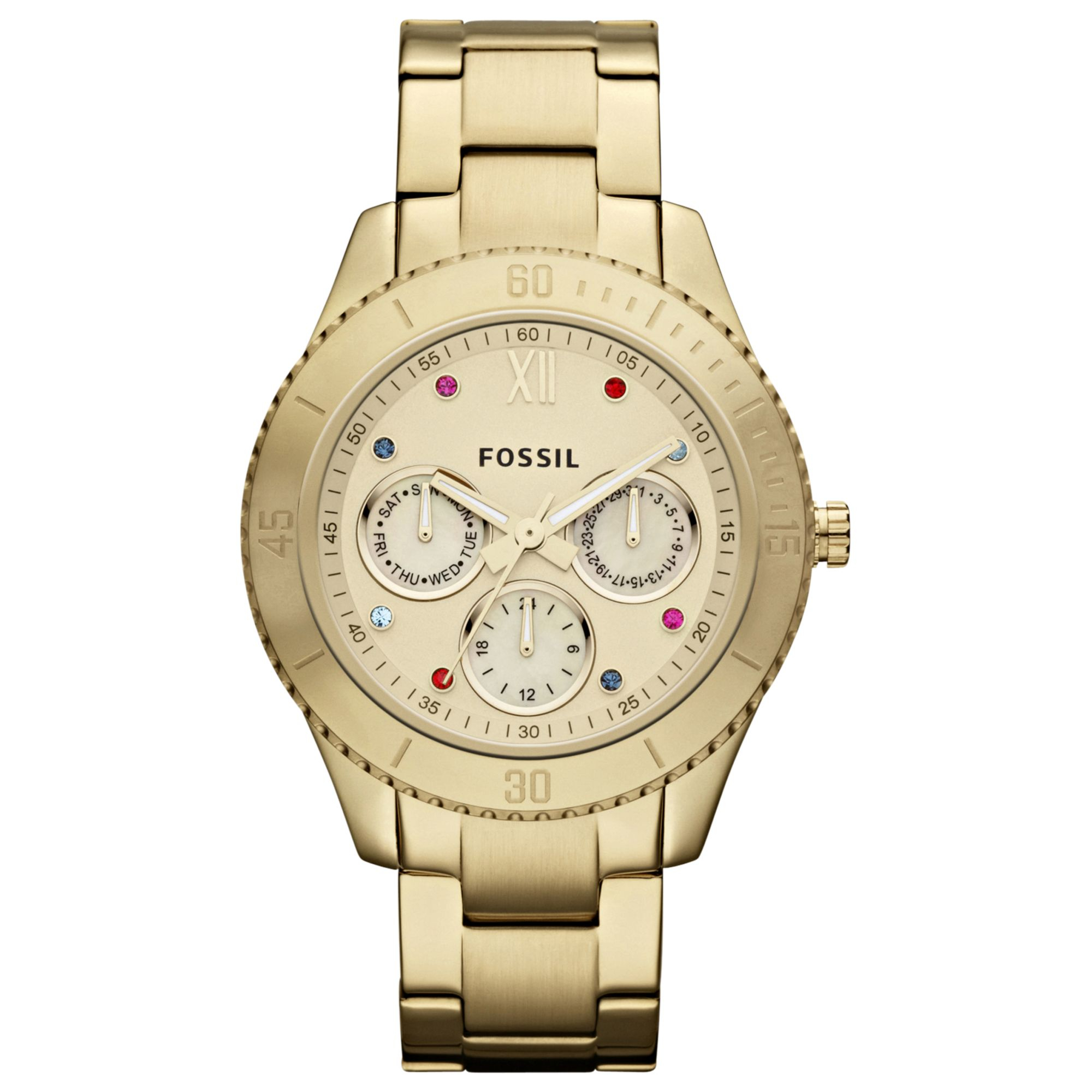 fossil womens stella goldtone stainless steel bracelet