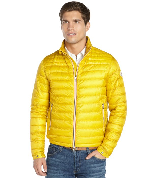 Moncler Yellow Quilted Zip Front Daniel Down Jacket In