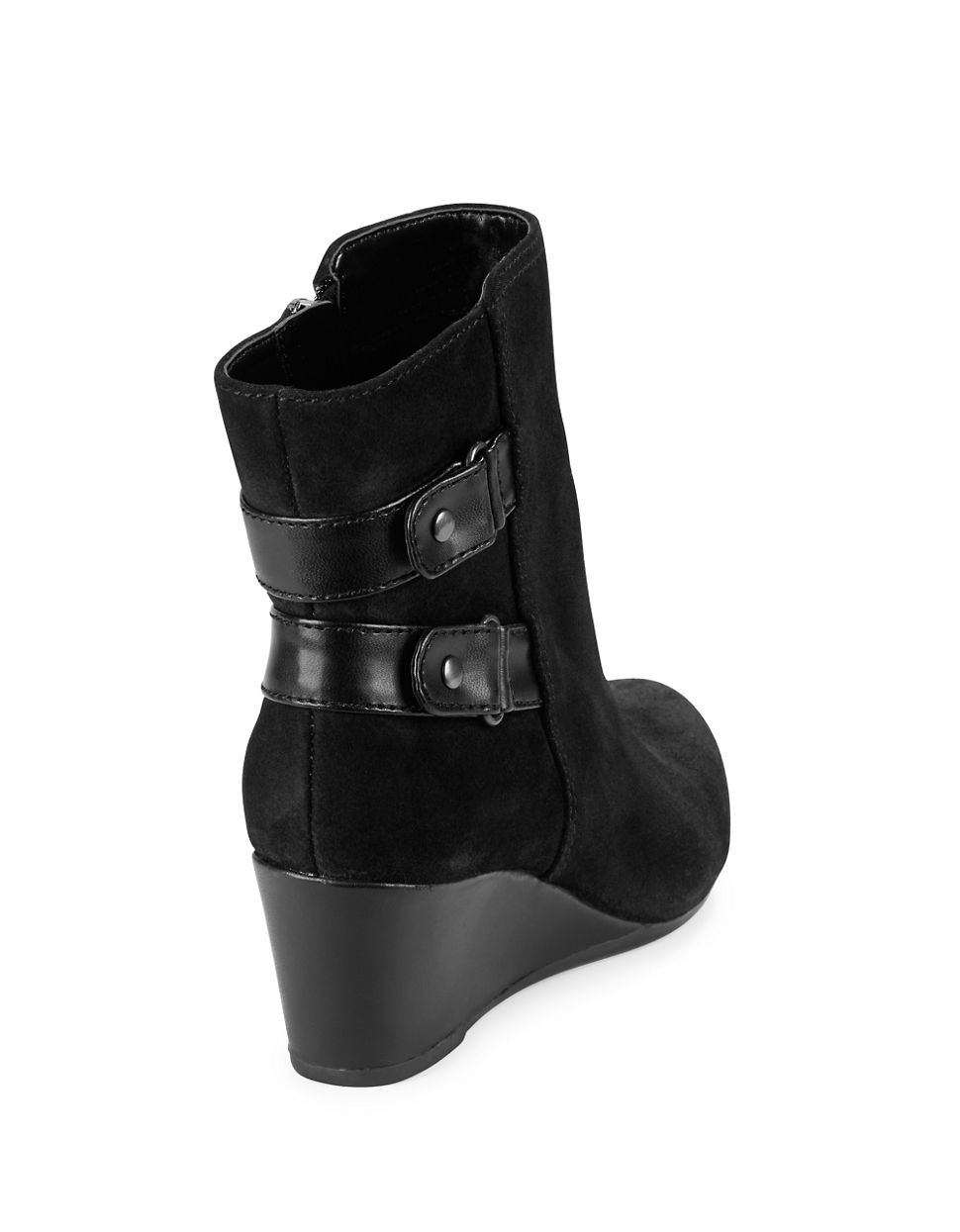bandolino ariona suede wedge ankle boots in black lyst