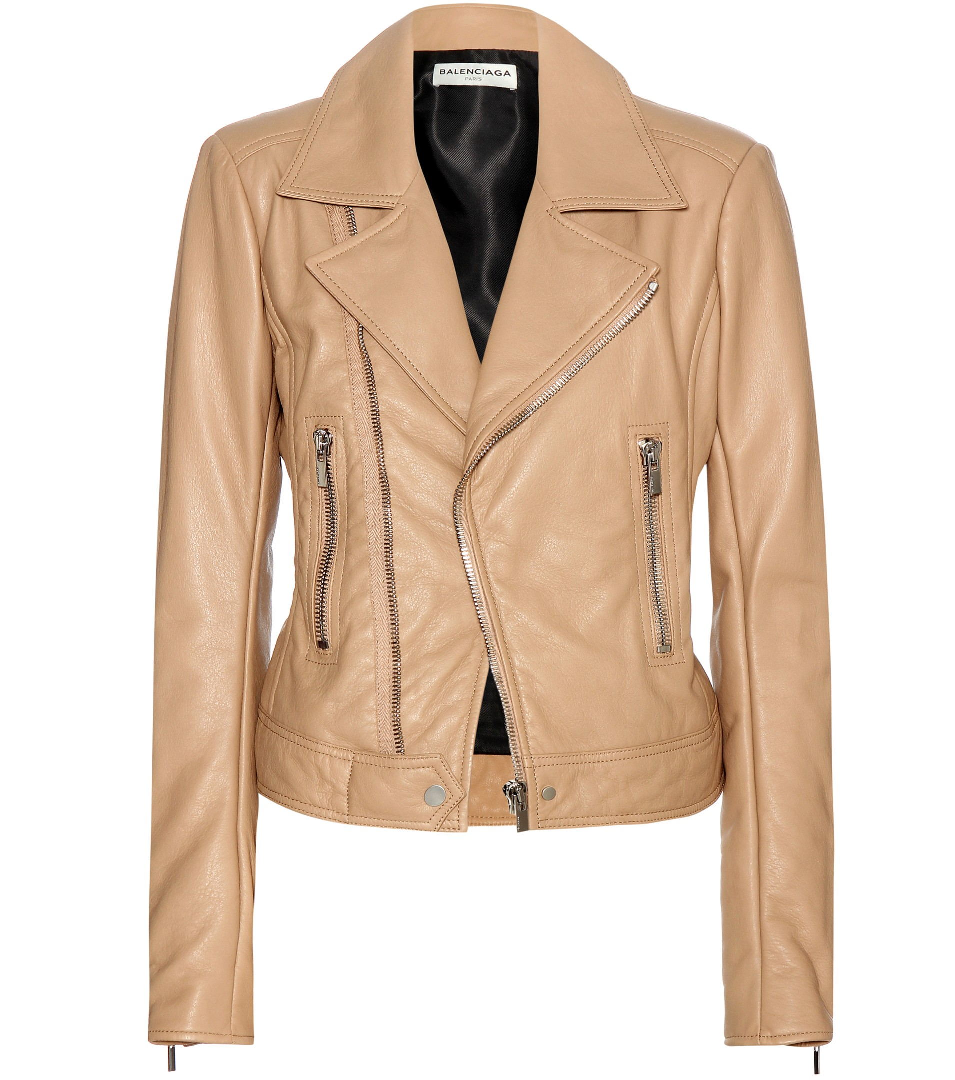 Balenciaga Leather Biker Jacket in Natural | Lyst