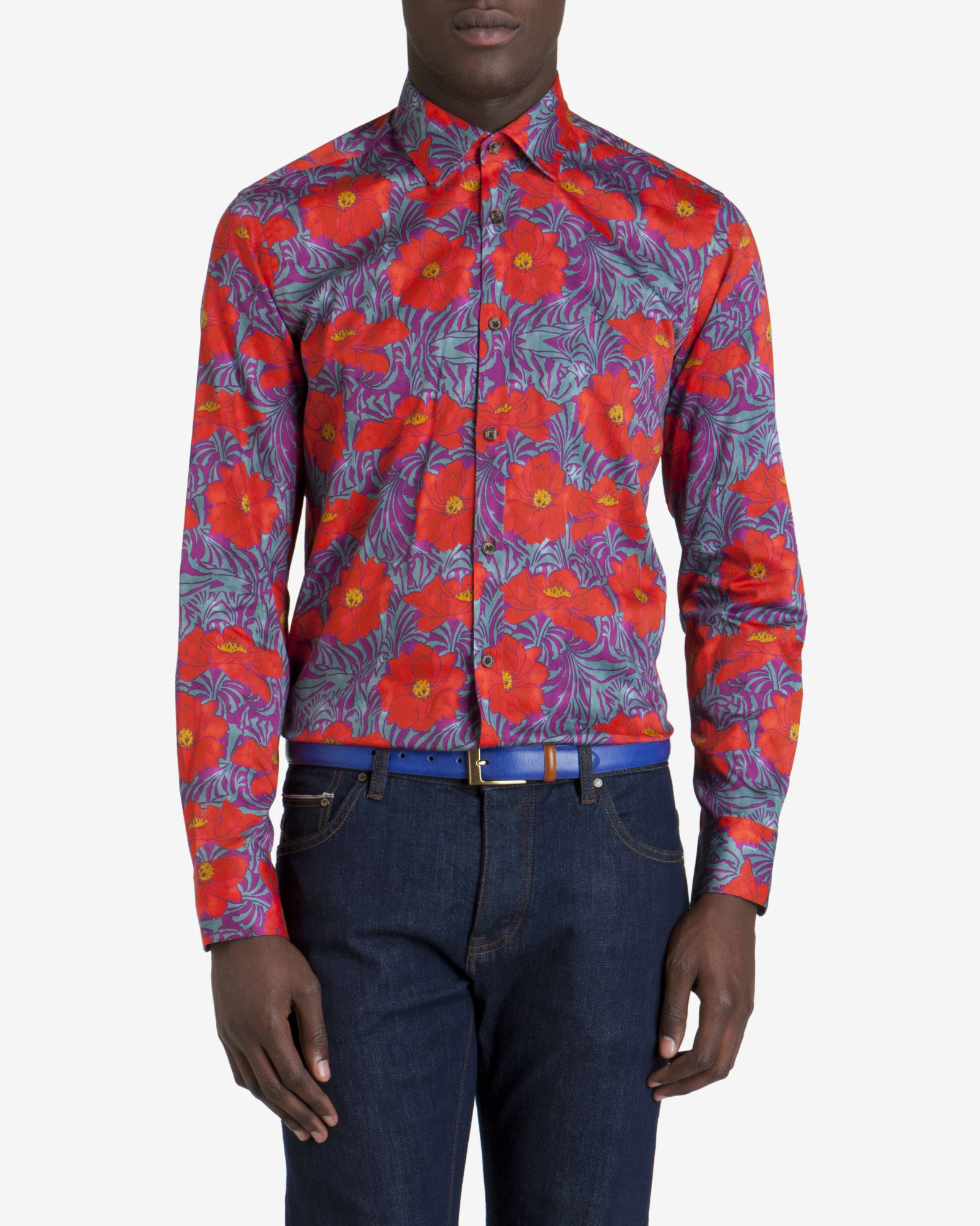 Ted baker Printed Floral Shirt in Pink for Men (Coral)