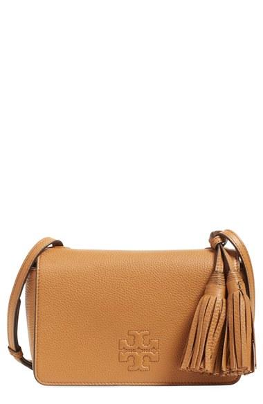 89bec8016dbf Lyst - Tory Burch Thea Mini Leather Cross-Body Bag in Brown