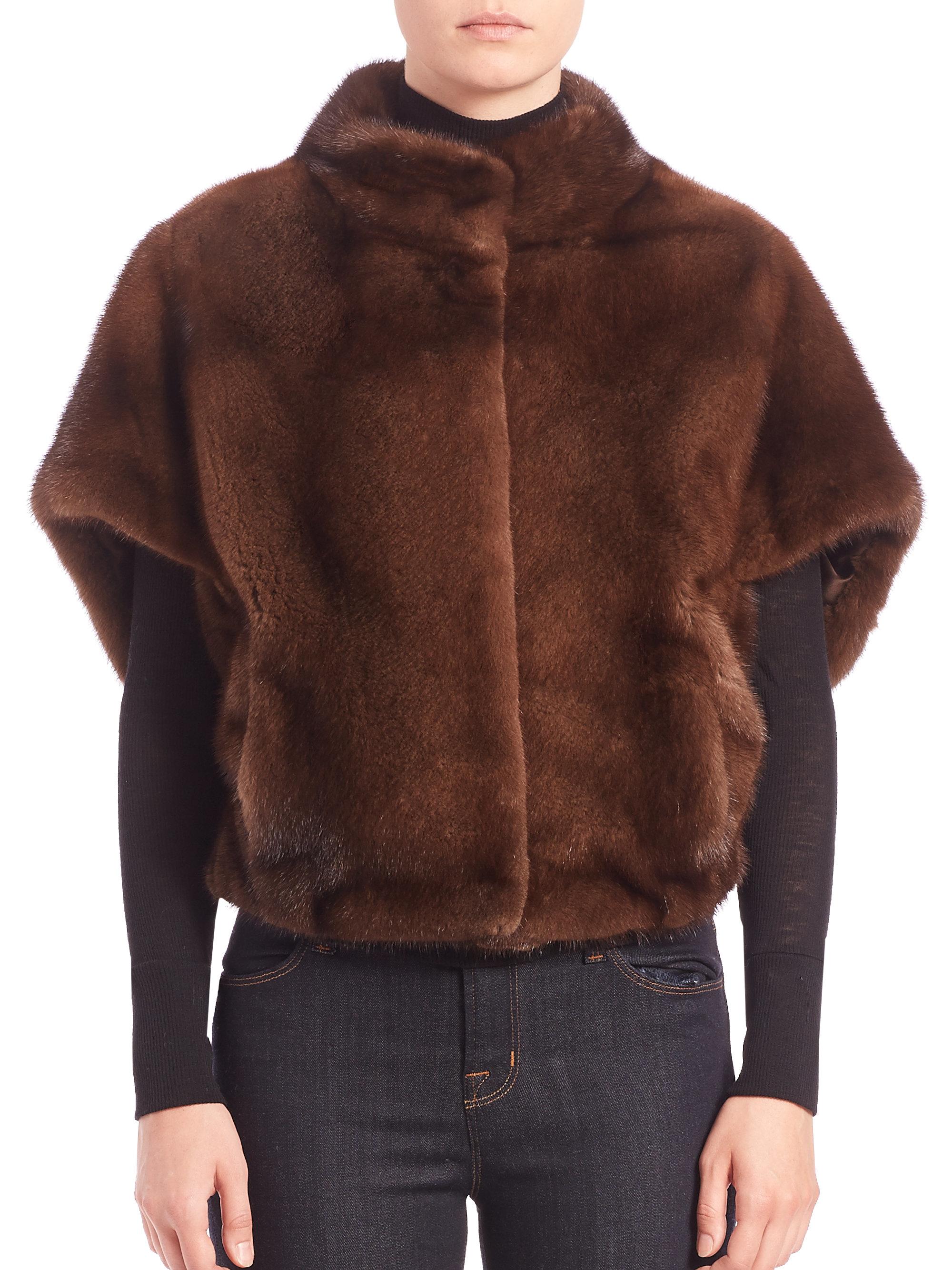 Lyst Michael Kors Cropped Mink Fur Cape Jacket In Brown