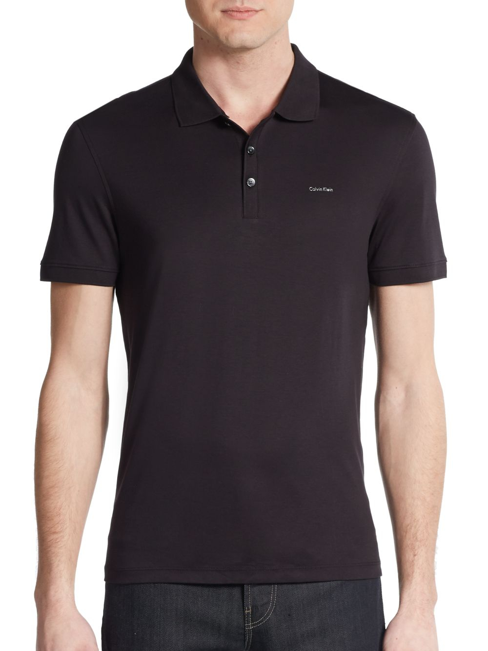 Calvin klein cotton polo shirt in black for men lyst for Black cotton polo shirt