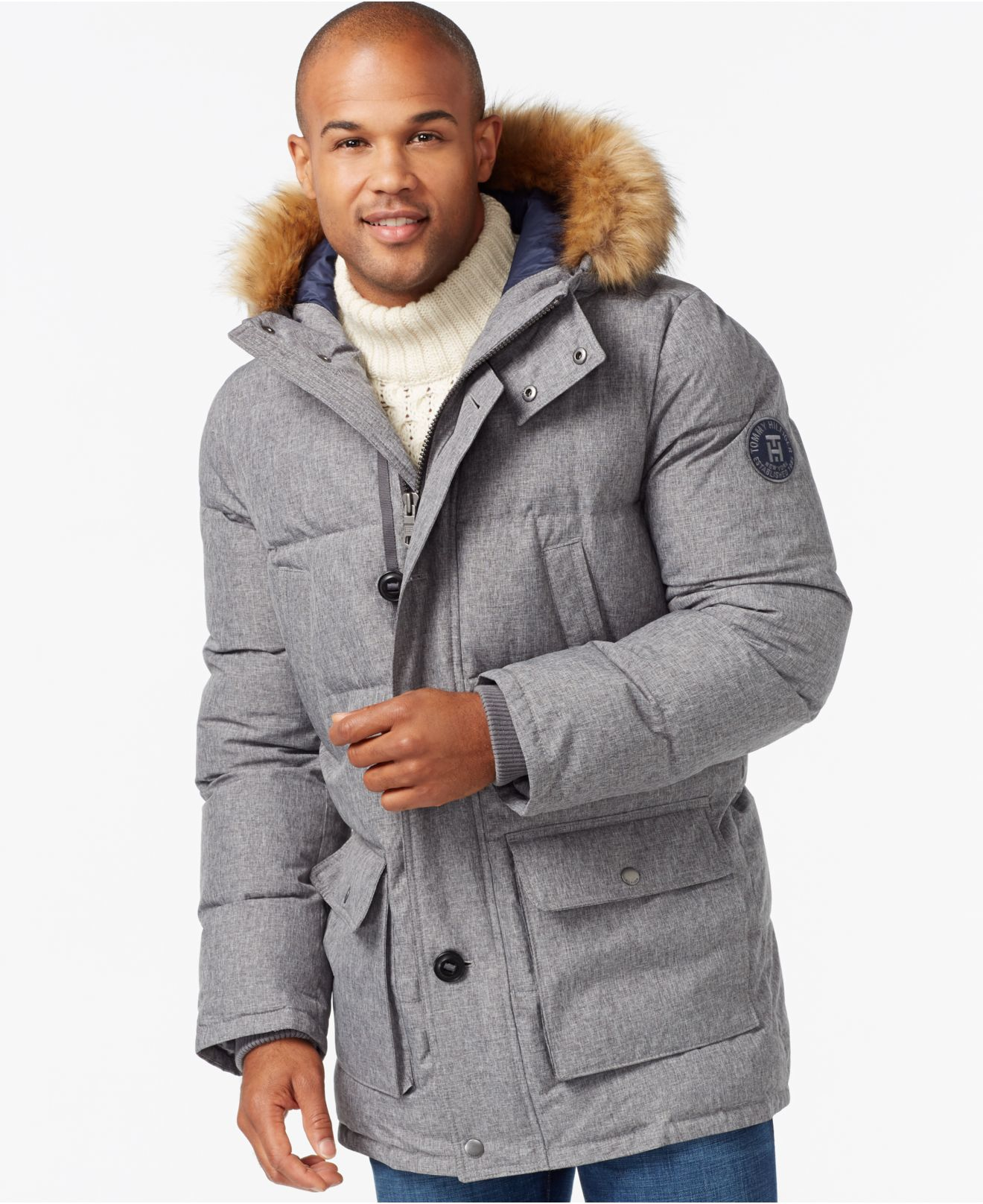 tommy hilfiger long snorkel coat in gray for men heather. Black Bedroom Furniture Sets. Home Design Ideas