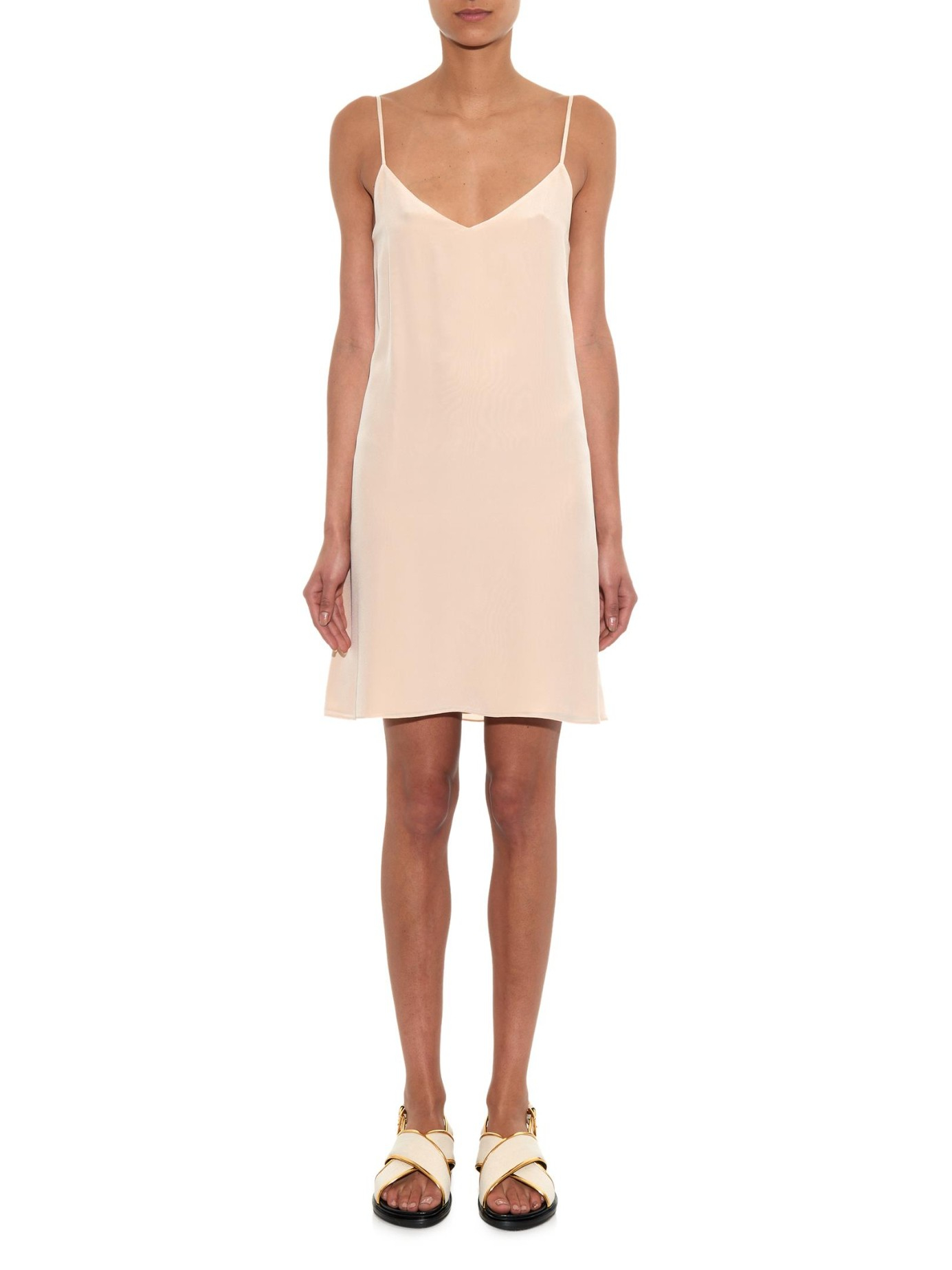 Lyst Raey Deep V Silk Slip Dress In Natural