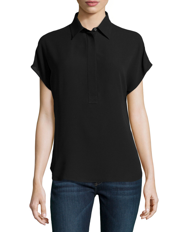 michael kors silk georgette short sleeve popover blouse in black lyst. Black Bedroom Furniture Sets. Home Design Ideas