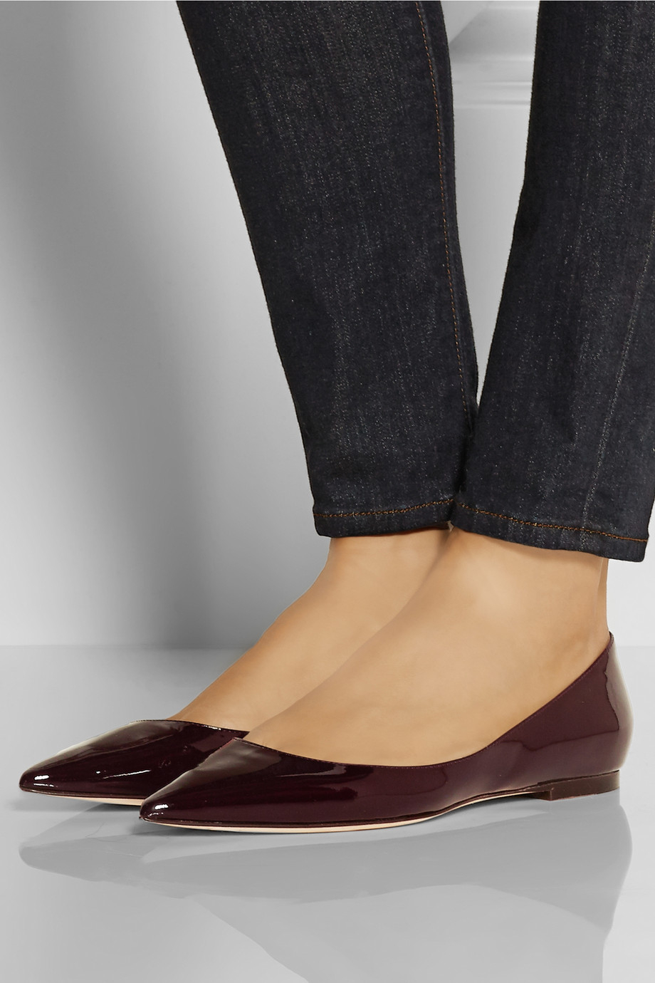 Jimmy Choo Alina Patent Leather Point Toe Flats In Red Lyst